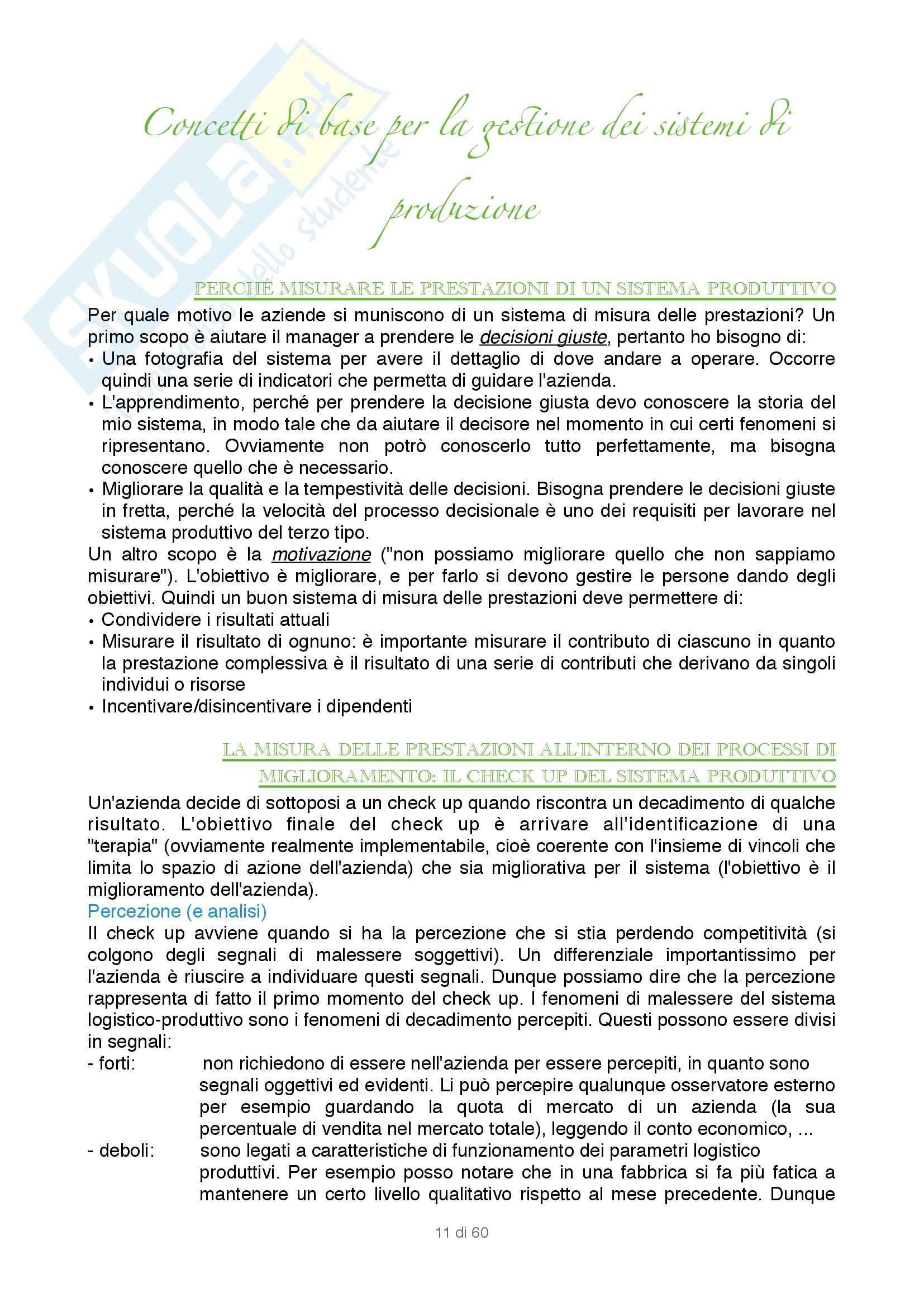 Appunti di Gestione dei sistemi logistici e produttivi : Gestione del sistema di produzione Pag. 11