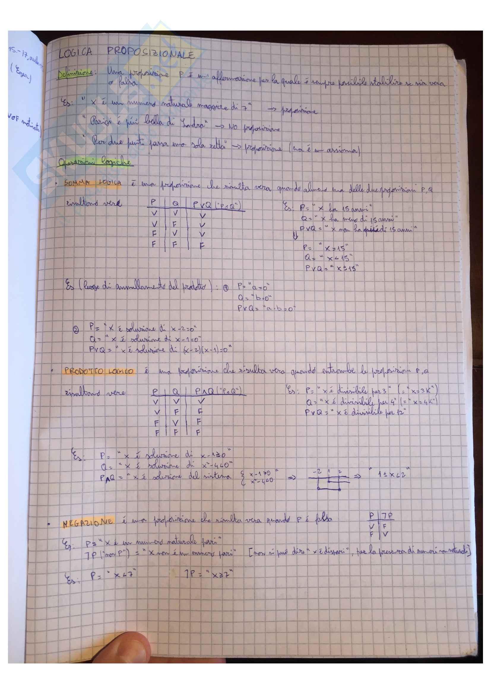 Appunti Matematica generale, docente Valentina Guizzi