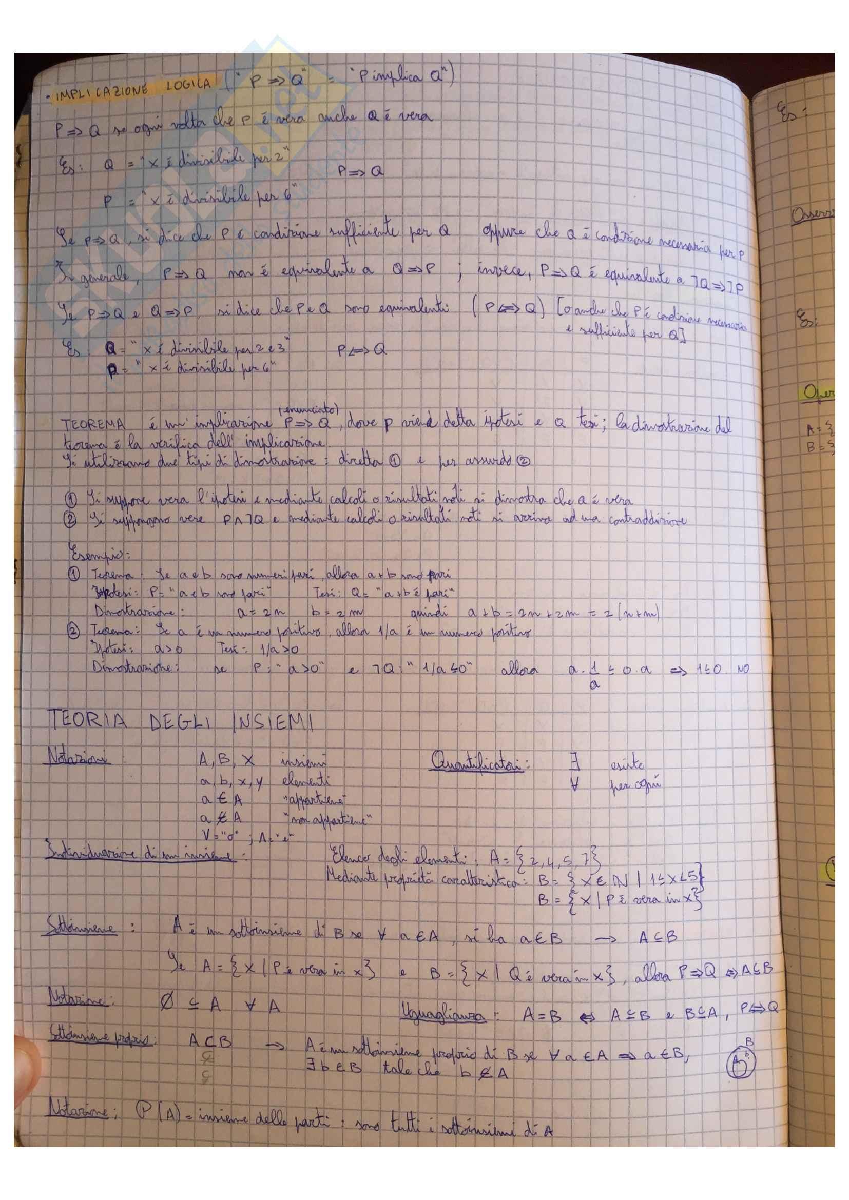 Appunti Matematica generale, docente Valentina Guizzi Pag. 2