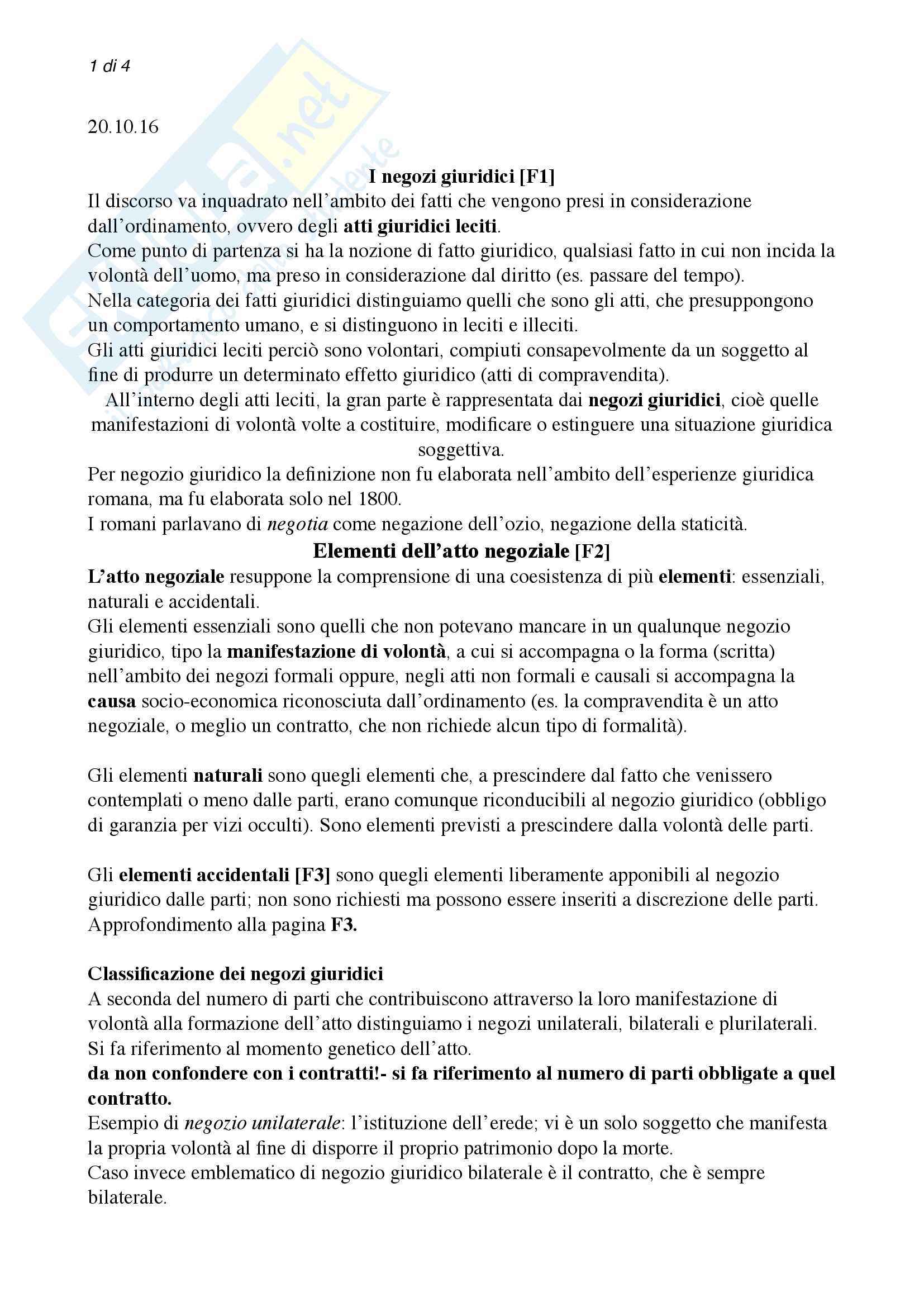 Negozi giuridici - Riassunto Diritto Privato Romano - Giurisprudenza