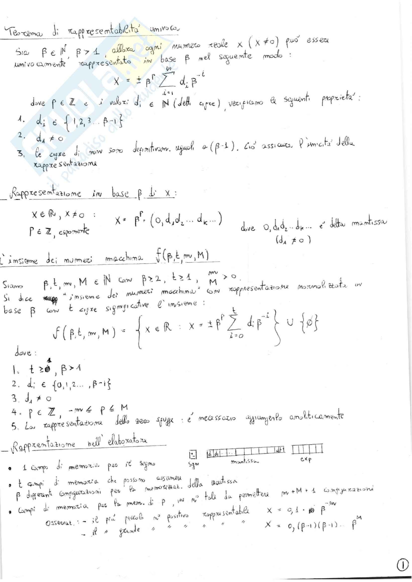 Riassunto esame, Calcolo Numerico - Tutto l'esame in 30 pagine, prof. Politi