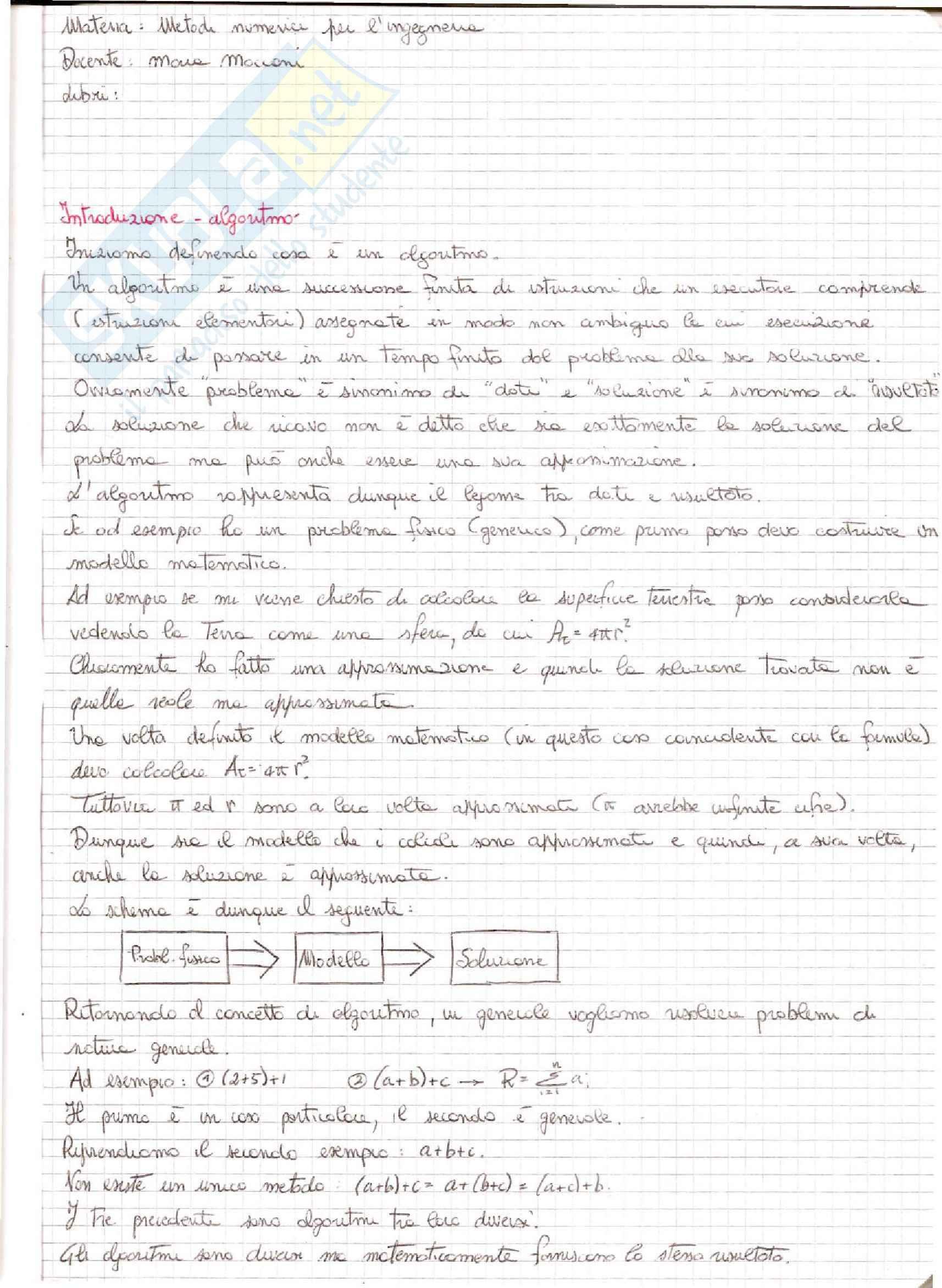 Metodi Numerici per l'Ingegneria  - Appunti