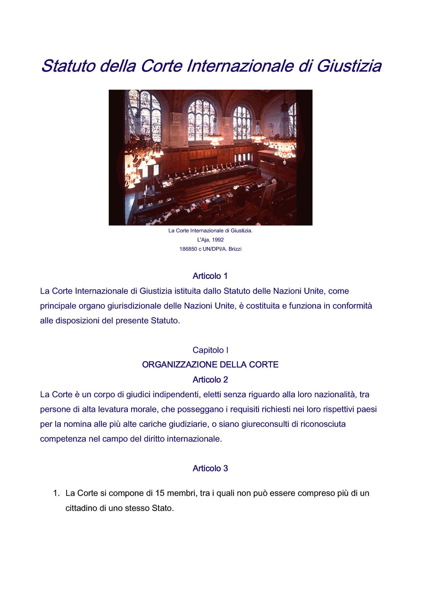 Corte Internazionale di Giustizia - Statuto