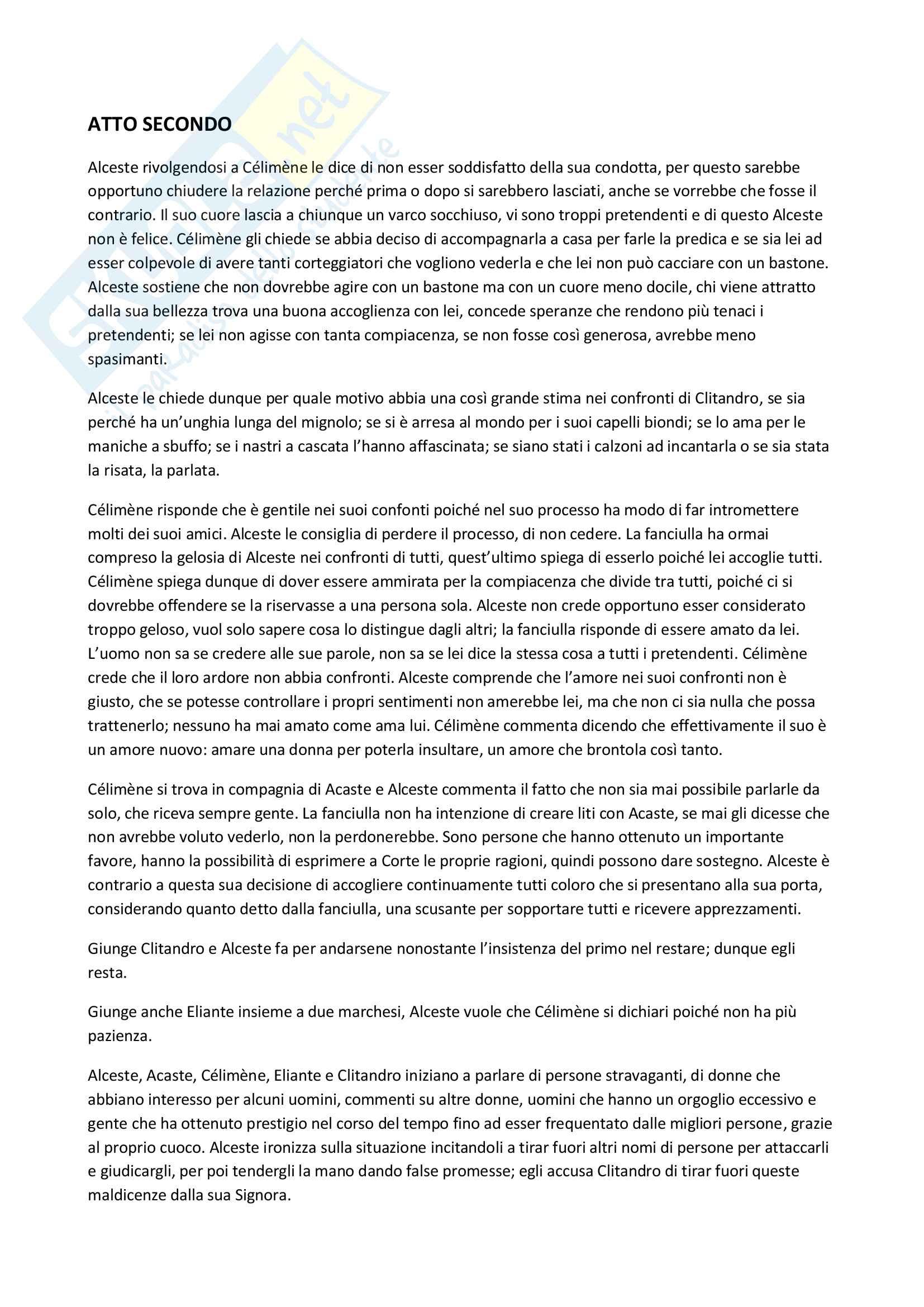 Riassunto - Le Misanthrope, Molière Pag. 6