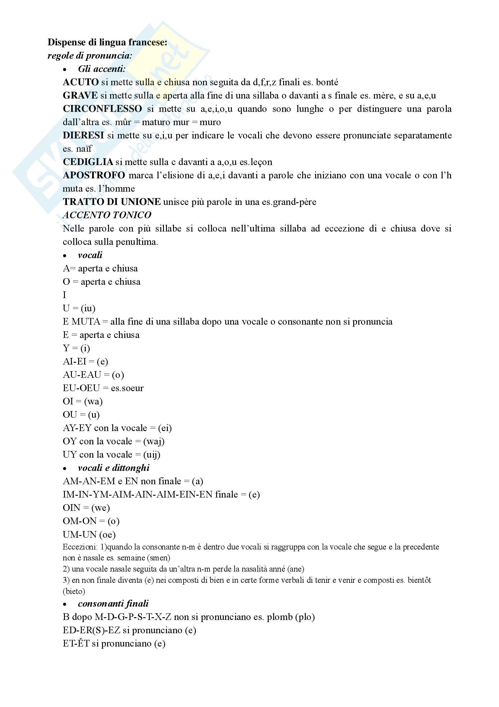 Grammatica francese riassunto esame prof splendori for Accenti francesi