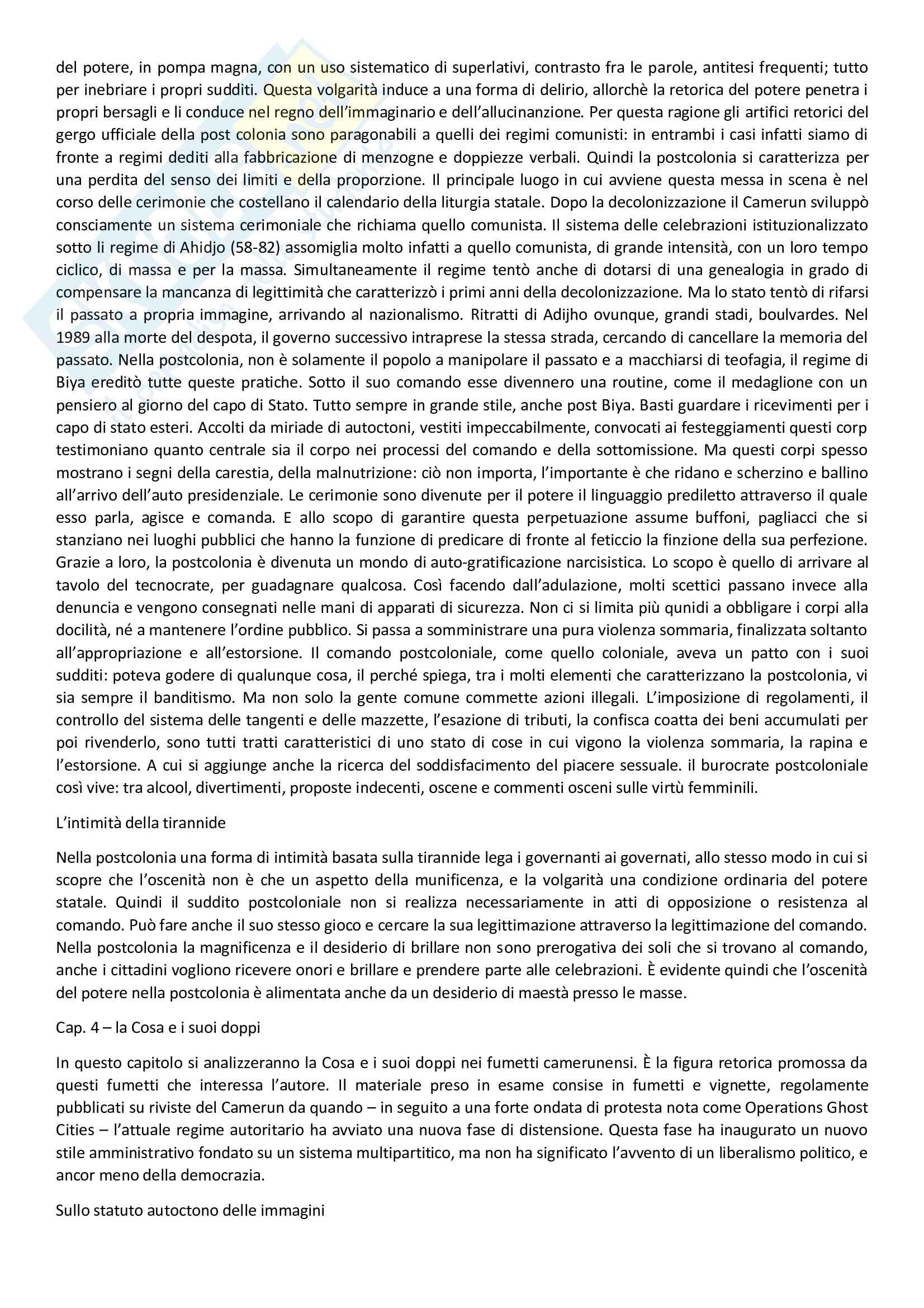 Riassunto esame Teorie e campi dell'antropologia, prof. Beneduce, libro consigliato Postcolonialismo, Mbembe Pag. 11