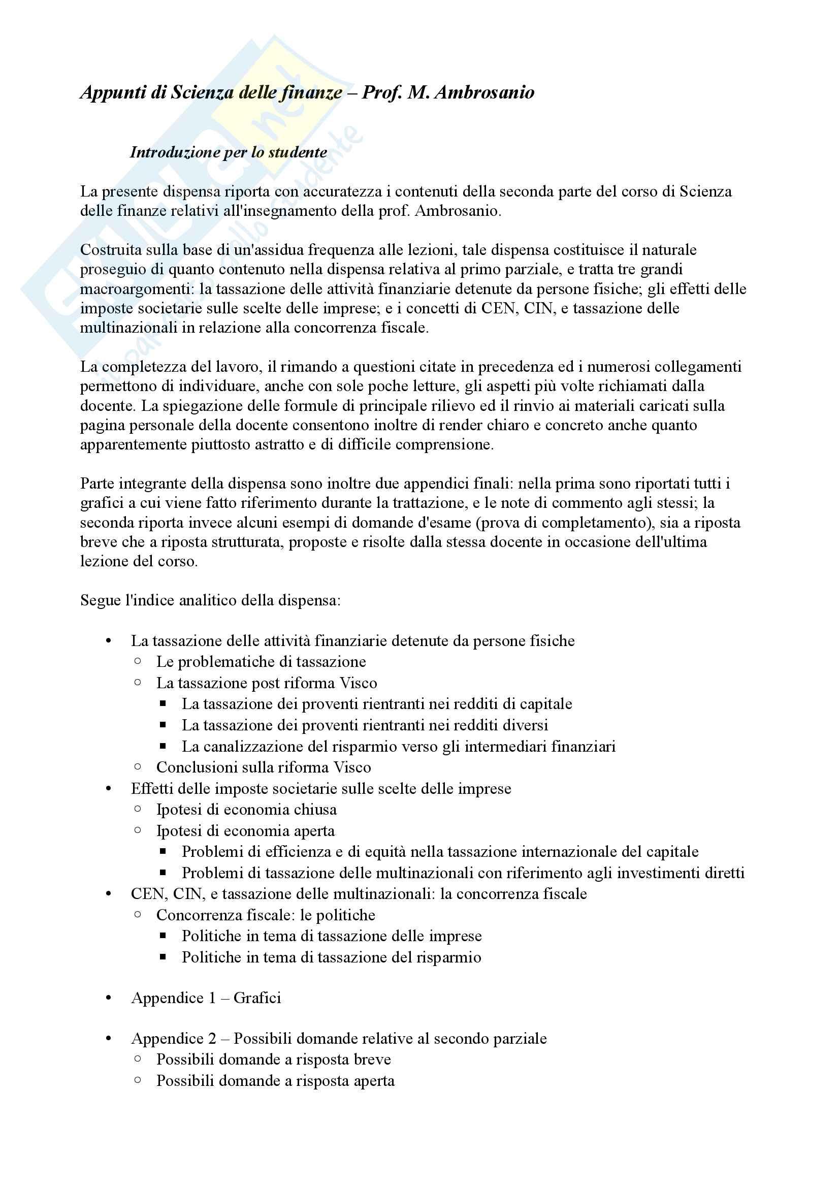 Appunti di Scienza delle finanze, Secondo parziale