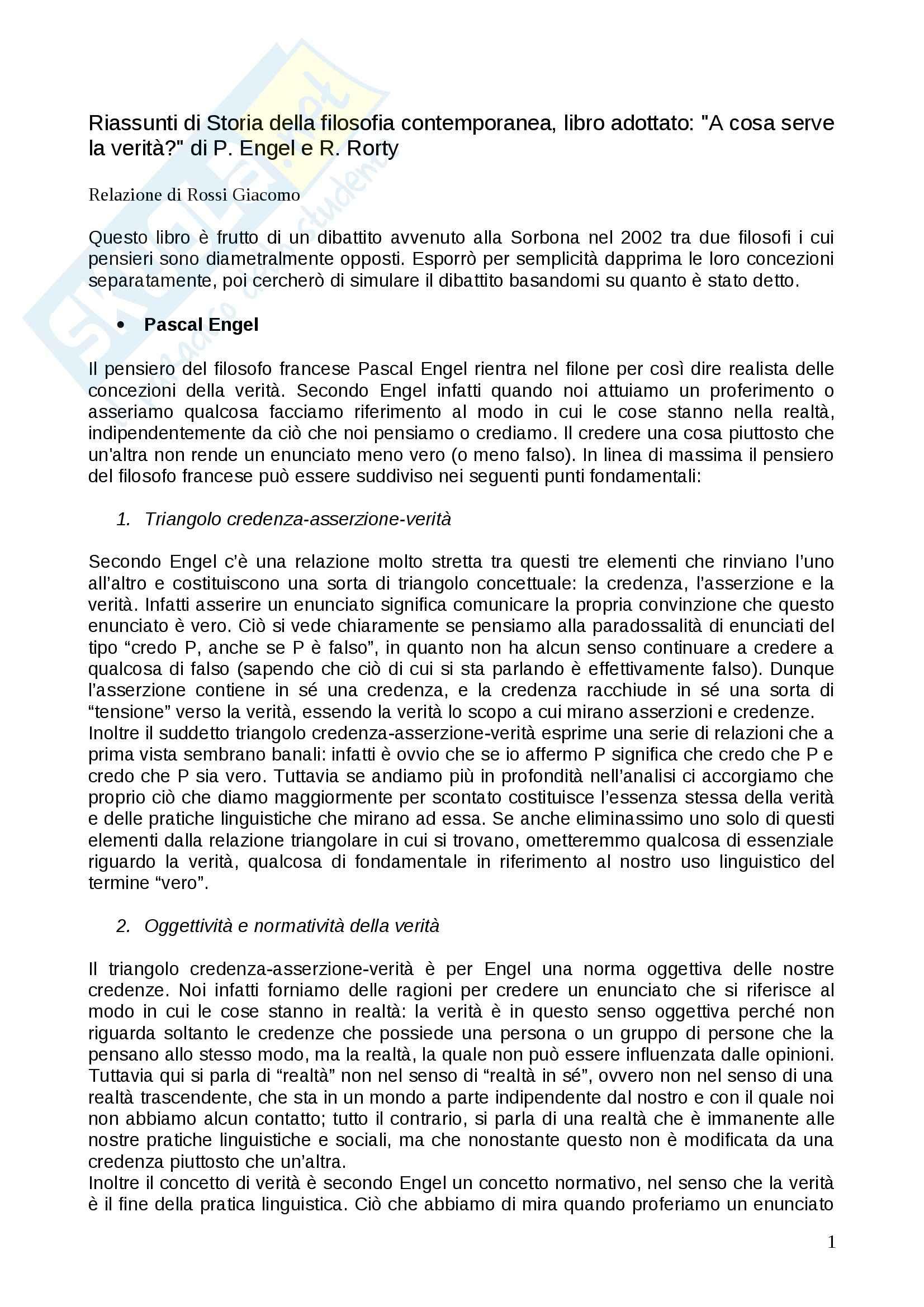 Riassunto esame Filosofia del linguaggio, prof. Santambrogio, libro consigliato A cosa serve la verità, Engel, Rorty