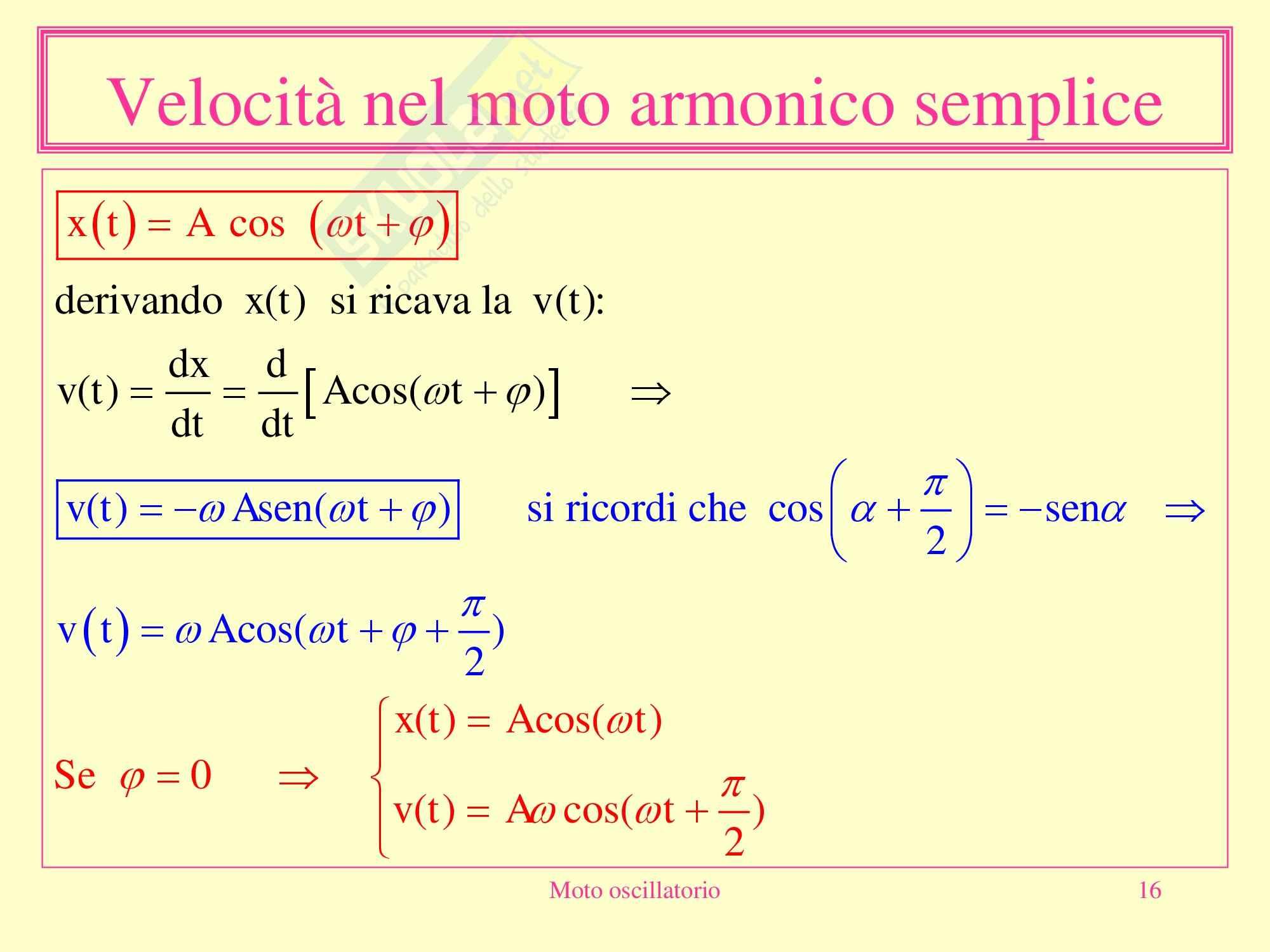 Fisica Medica - moto oscillatorio Pag. 16