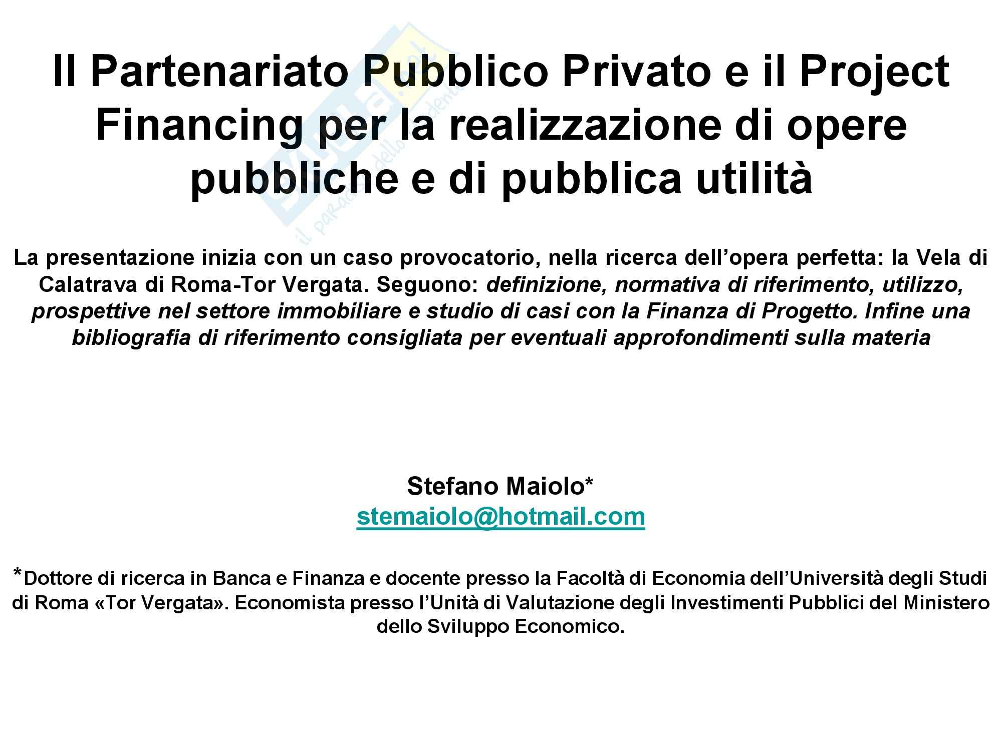 Project Financing e PPP