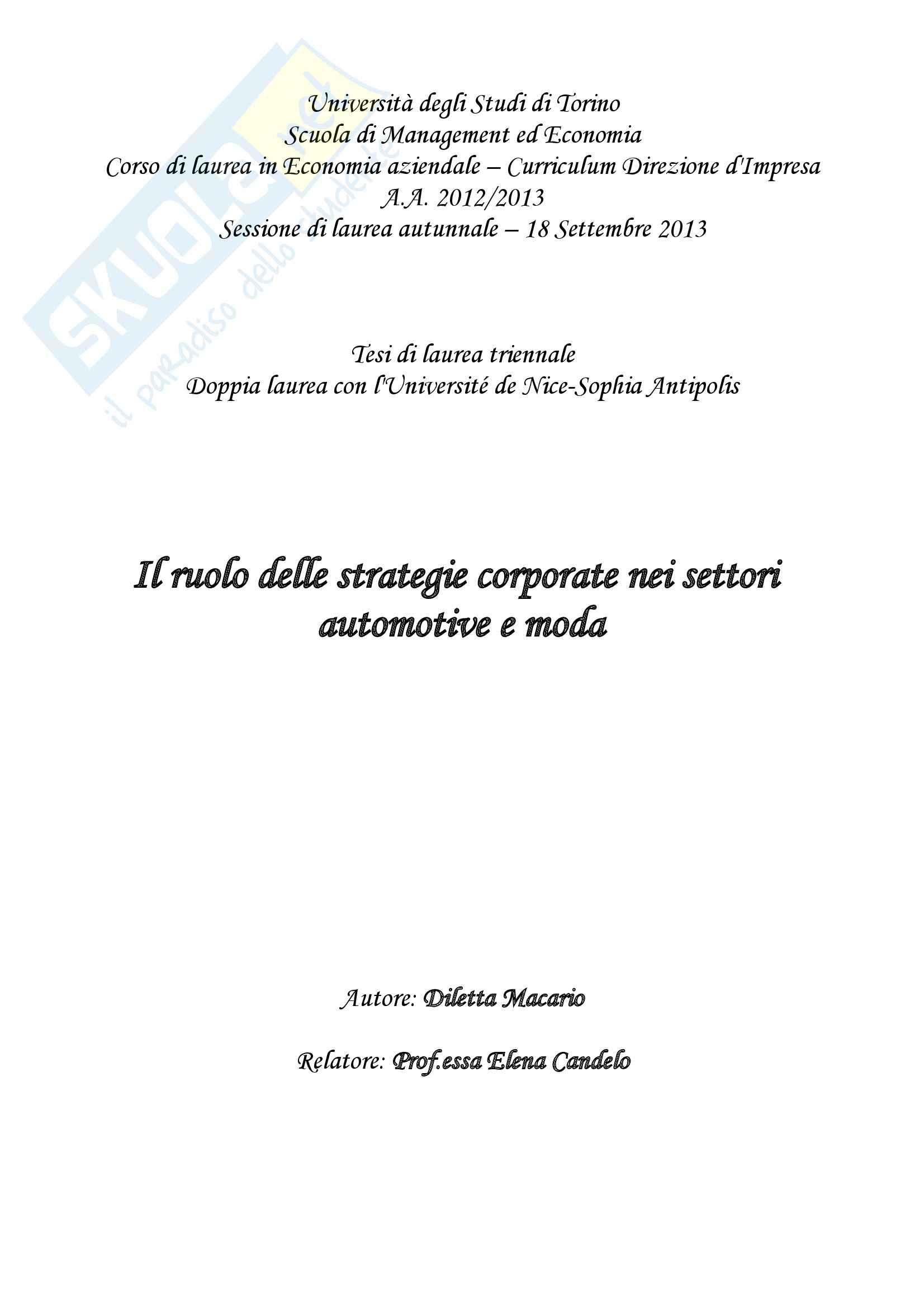 Tesi, Il ruolo delle strategie corporate nei settori automotive e moda