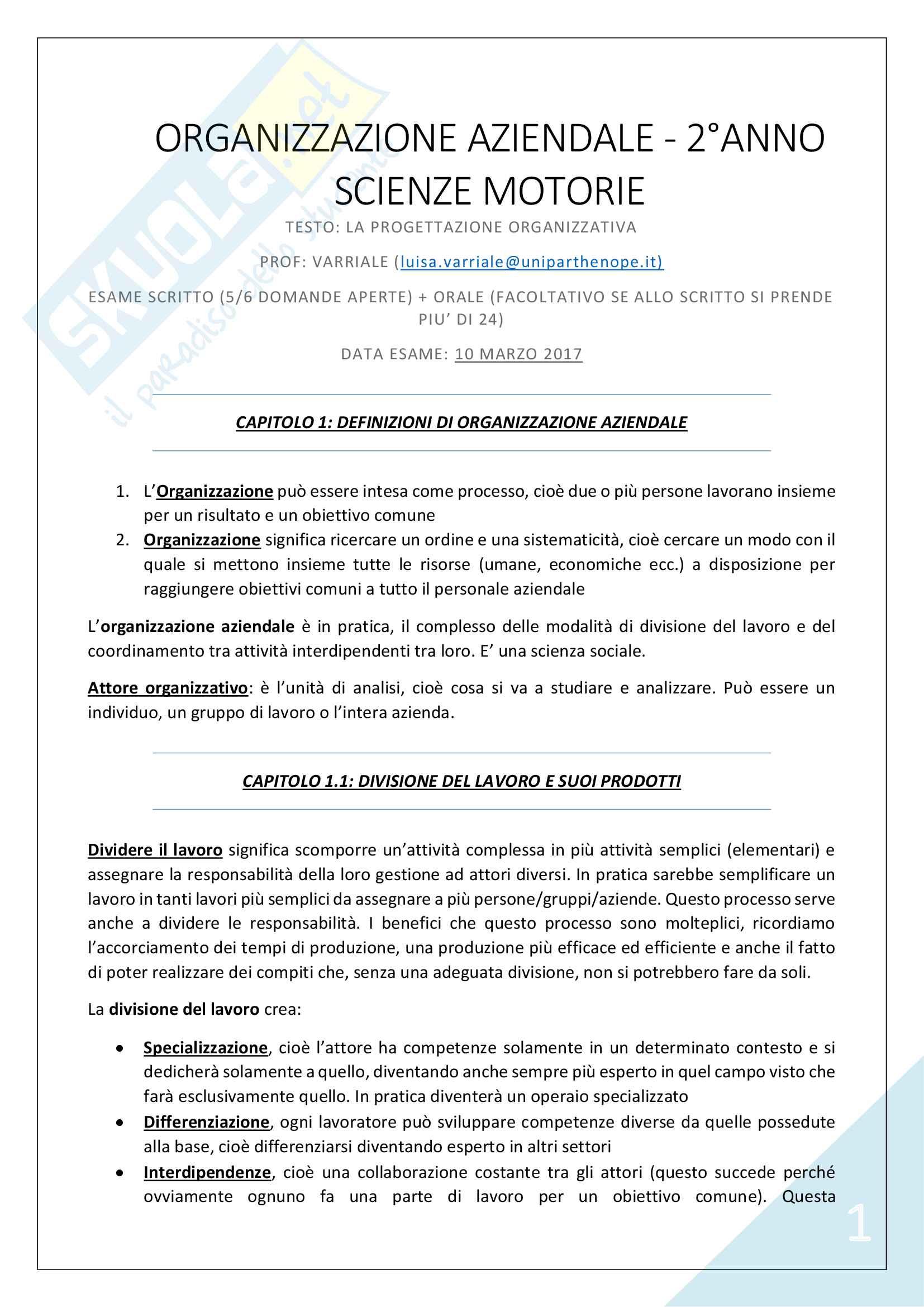 Organizzazione Aziendale - 2° Scienze Motorie