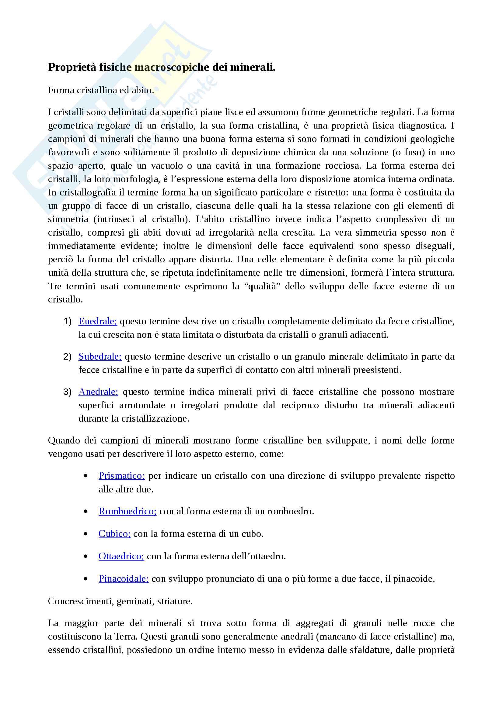 Riassunto esame di Mineralogia, prof. Langella, libro consigliato Mineralogia, Klein