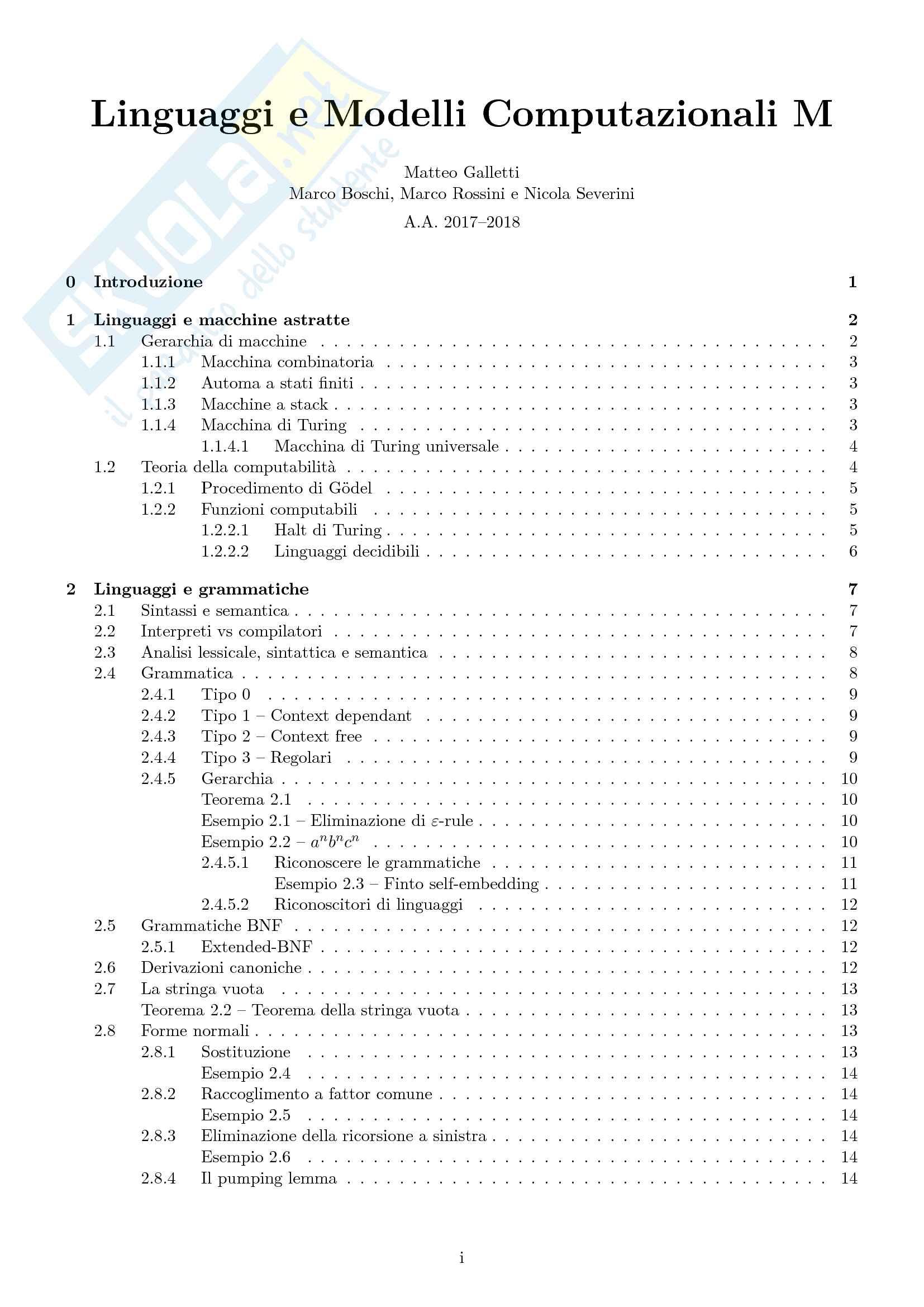 Appunti di Linguaggi e Modelli Computazionali