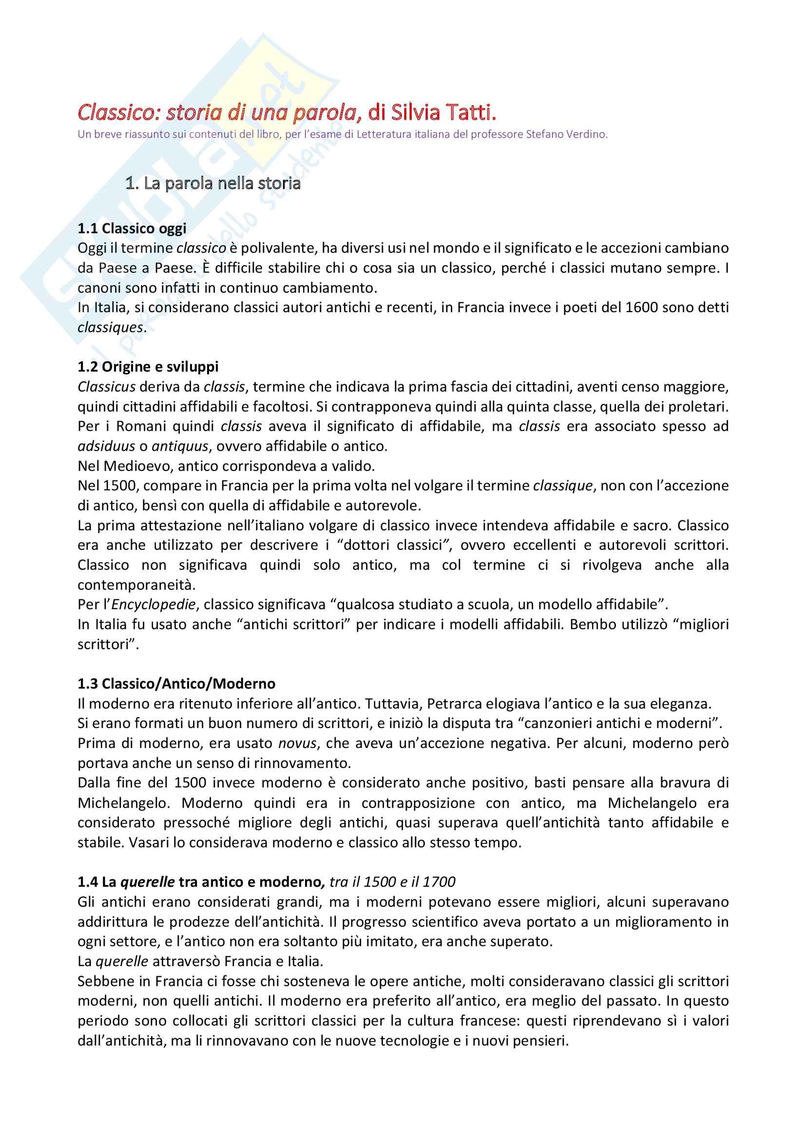Riassunto esame letteratura italiana, docente Verdino,libro consigliato Classico storia di una parola, Tatti