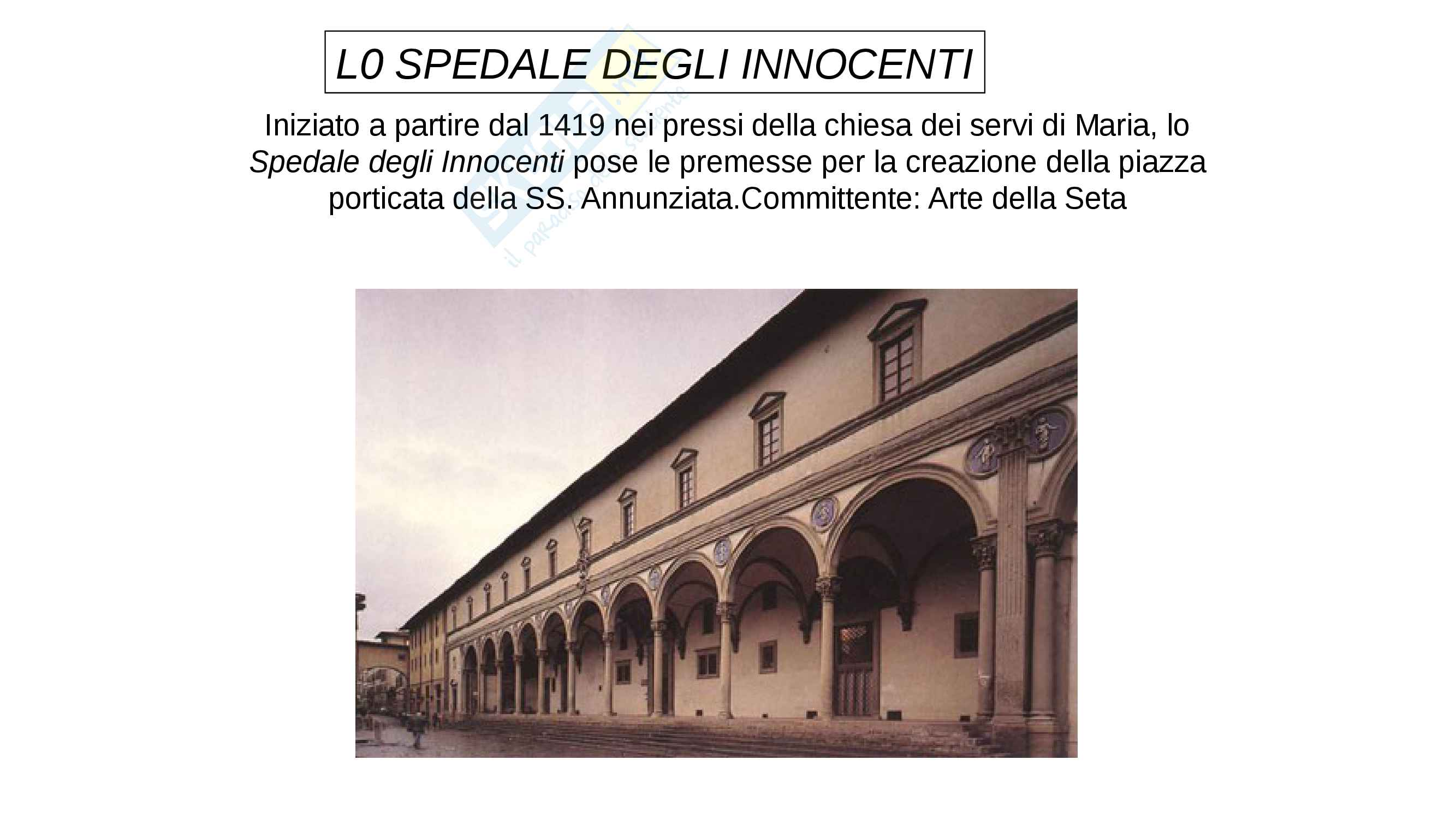 Lo Spedale degli Innocenti- Brunelleschi. completo con IMMAGINI, facile memorizzazione
