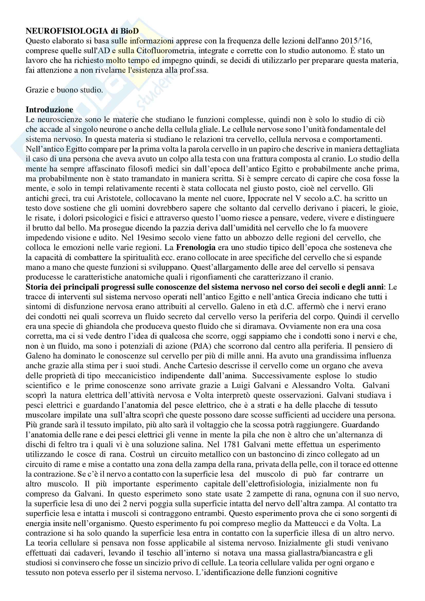 Riassunto esame Neurofisiologia, Prof.ssa S. Incerpi, libro consigliato Principi di neuroscienze, Kandel (3a edizione)