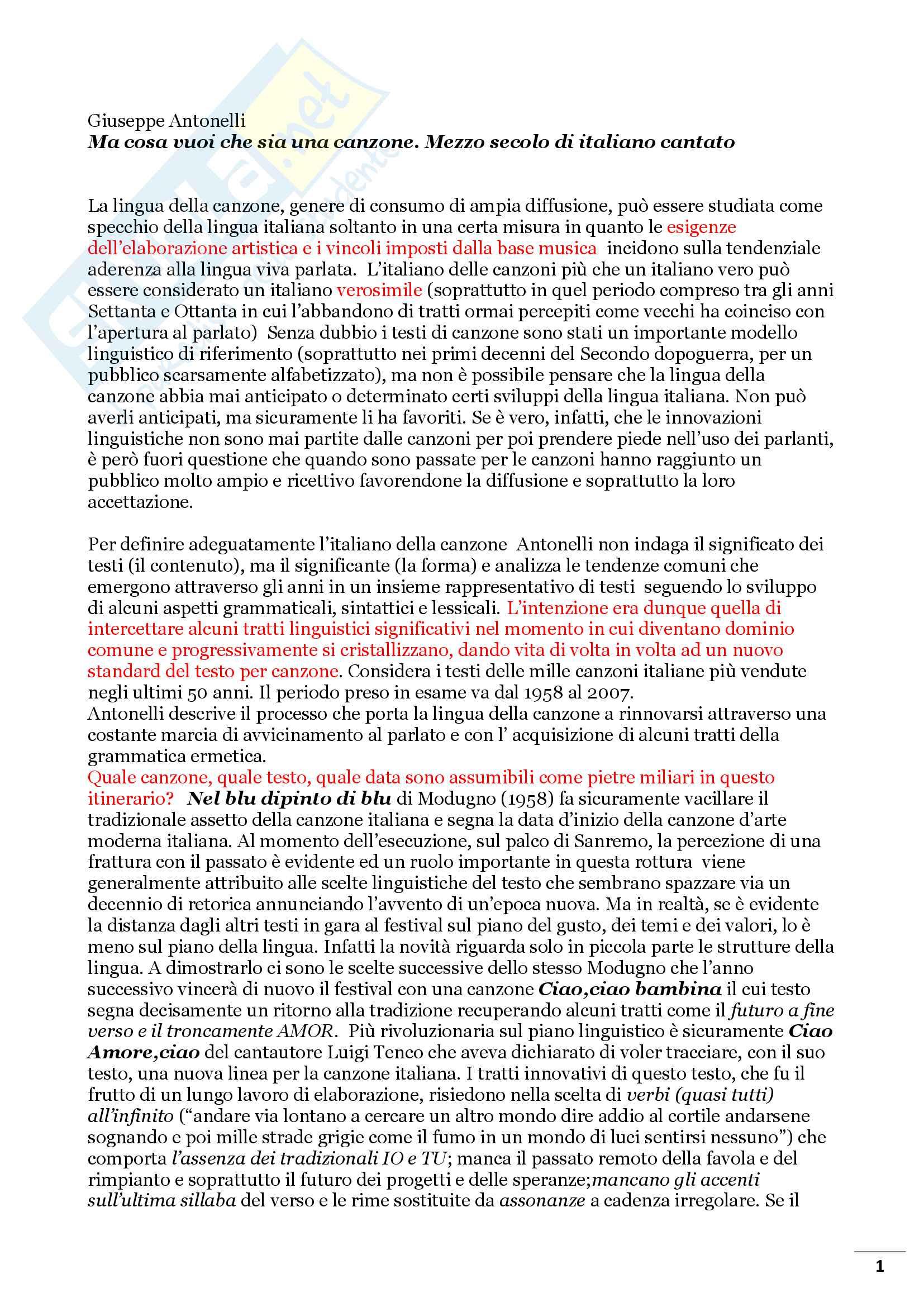 Riassunto esame Linguistica dei media, prof Bonomi, libro consigliato, Ma cosa vuoi che sia una canzone, mezzo secolo di italiano cantato di Giuseppe Antonelli