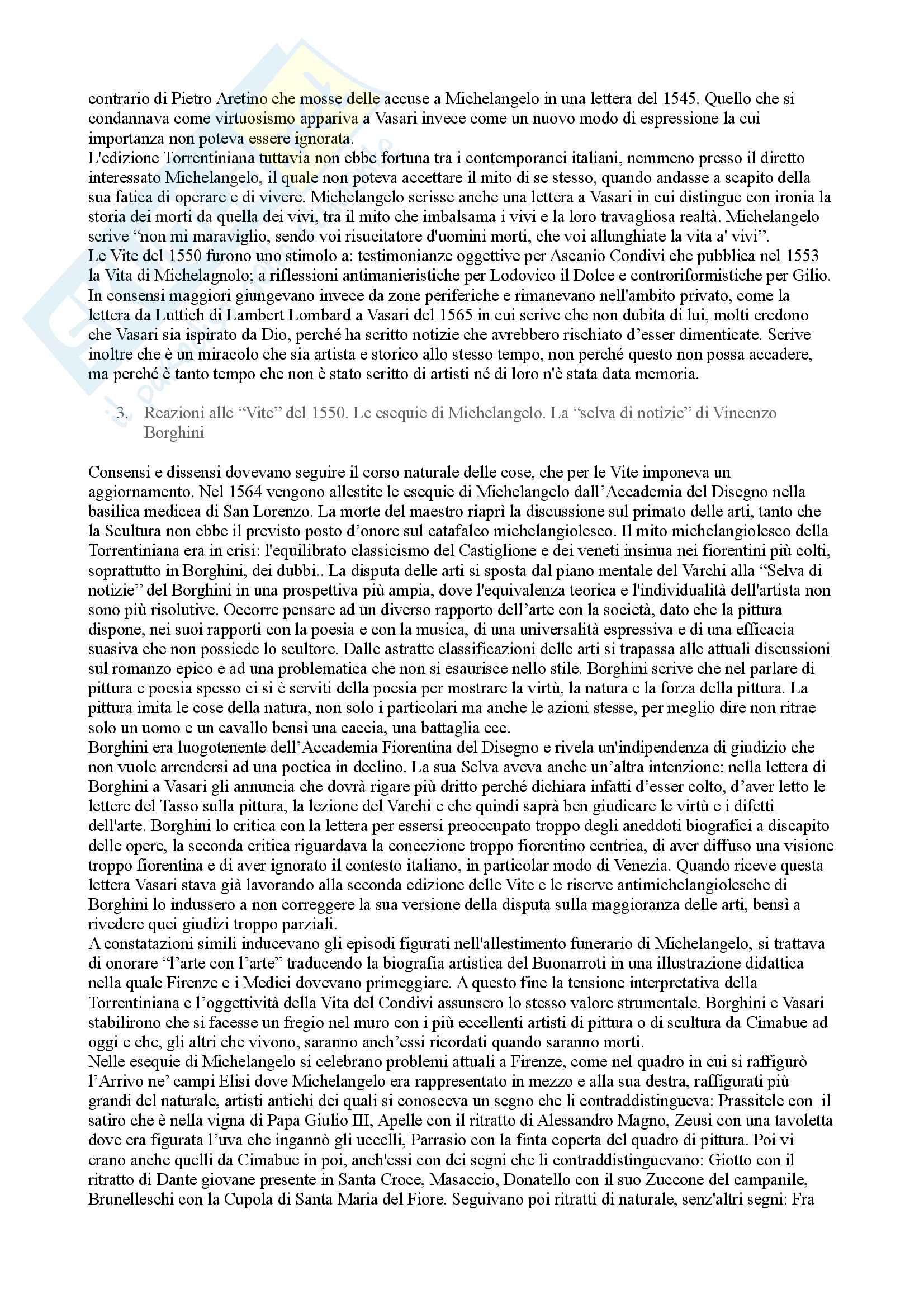 Riassunto esame Storia della critica d'arte, prof. Nigro, libro consigliato Storiografia e collezionismo dal Vasari al Lanzi,  Barocchi Pag. 2