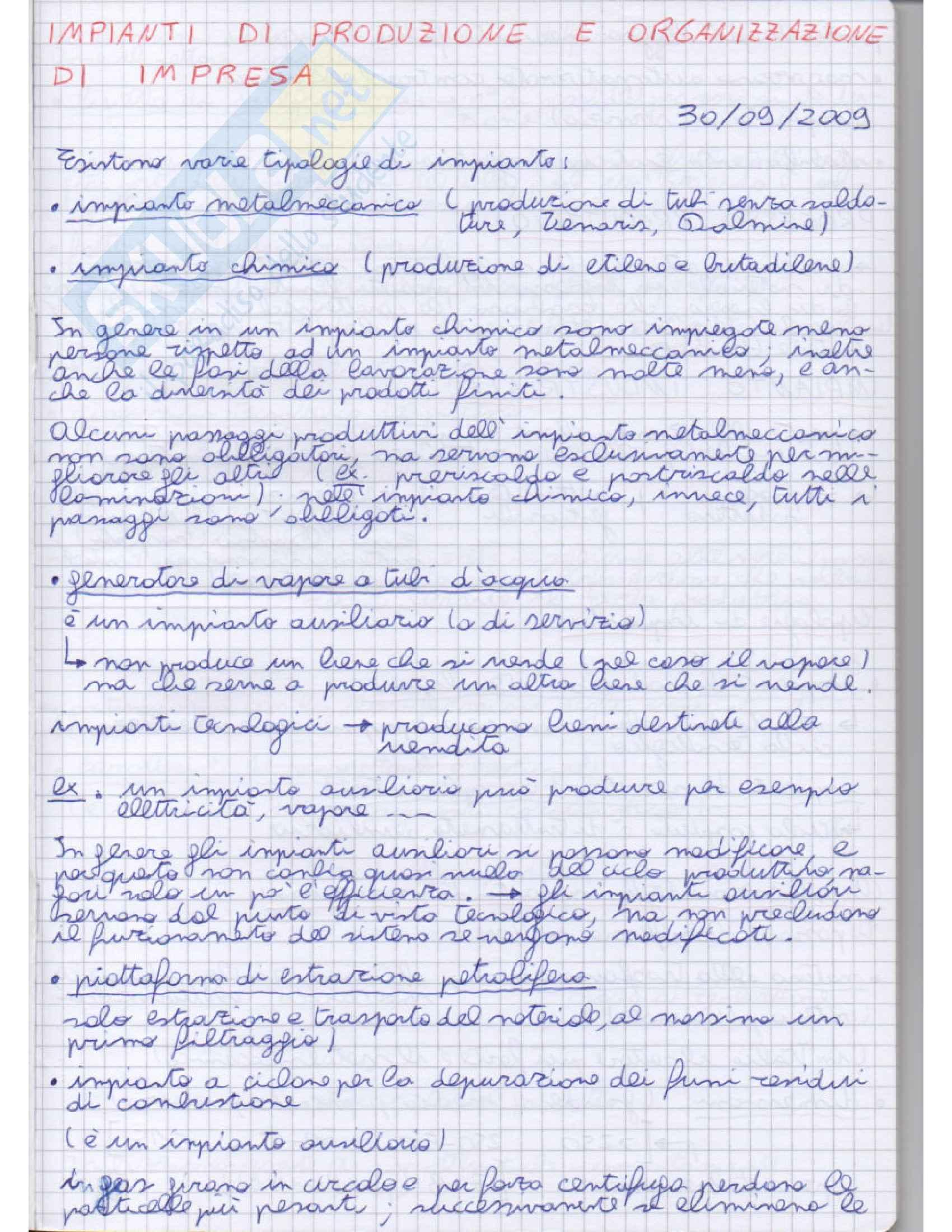 Impianti di produzone e organizzazione di impresa - Appunti