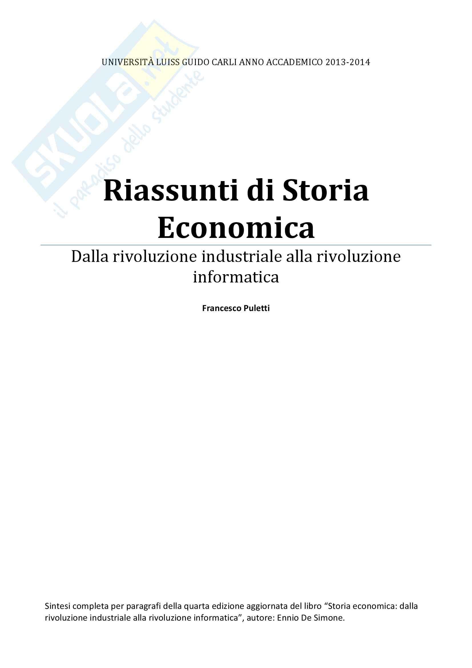 Riassunto esame completo per paragrafi- Storia Economica De Simone, prof. Di Taranto