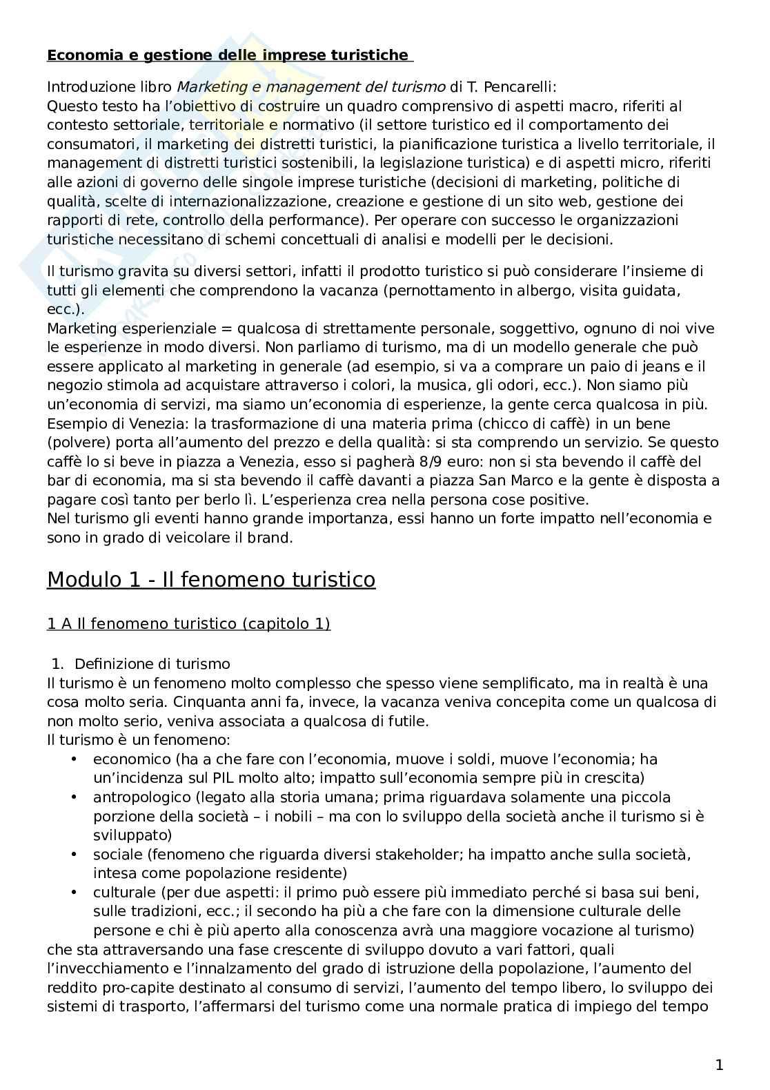 Riassunto esame Economia e gestione delle imprese turistiche, prof. Dini, libro consigliato: Marketing e management del turismo, Pencarelli