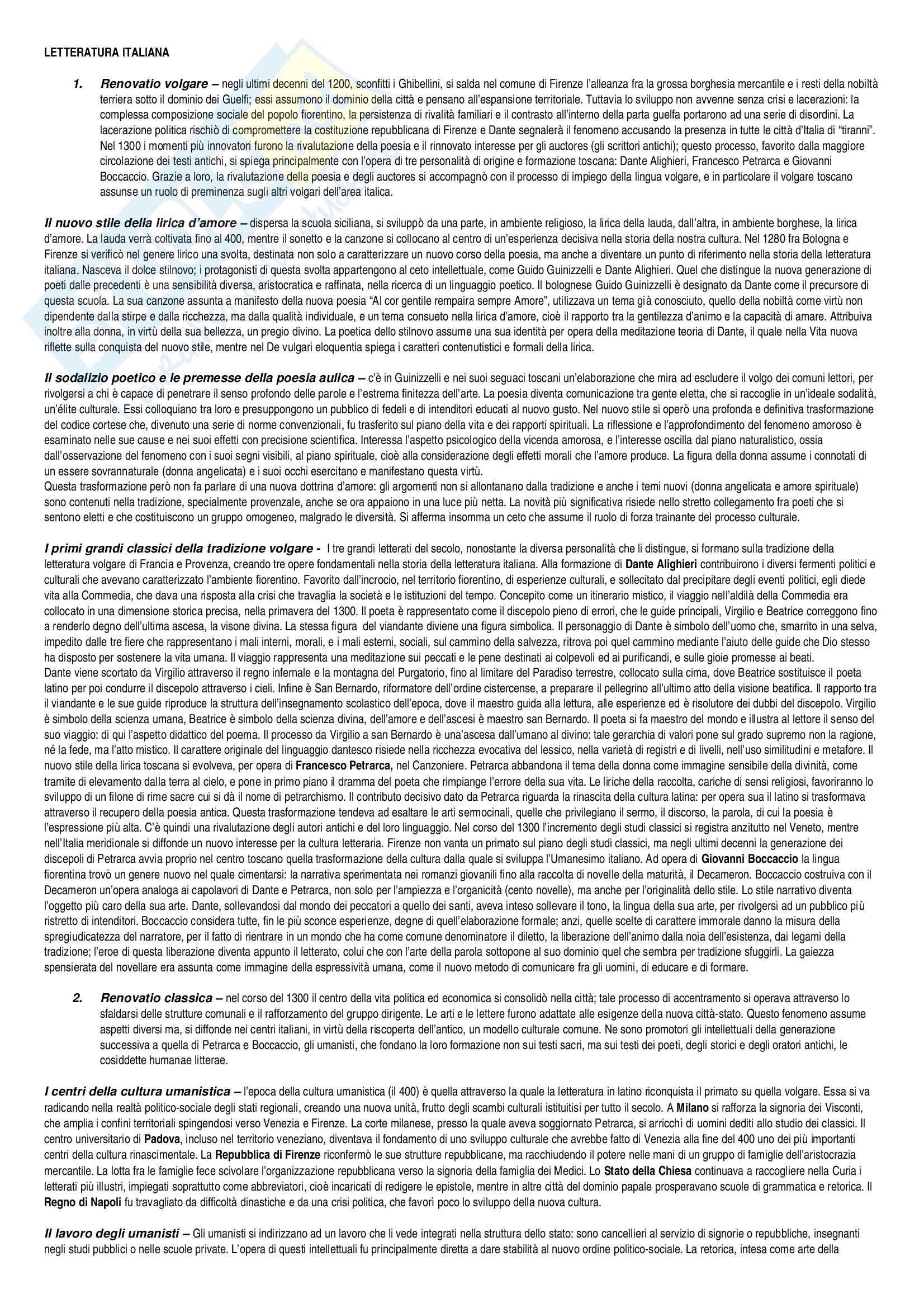 Riassunto esame Letteratura italiana, prof. Girardi, libro consigliato Le svolte della letteratura italiana, Tateo