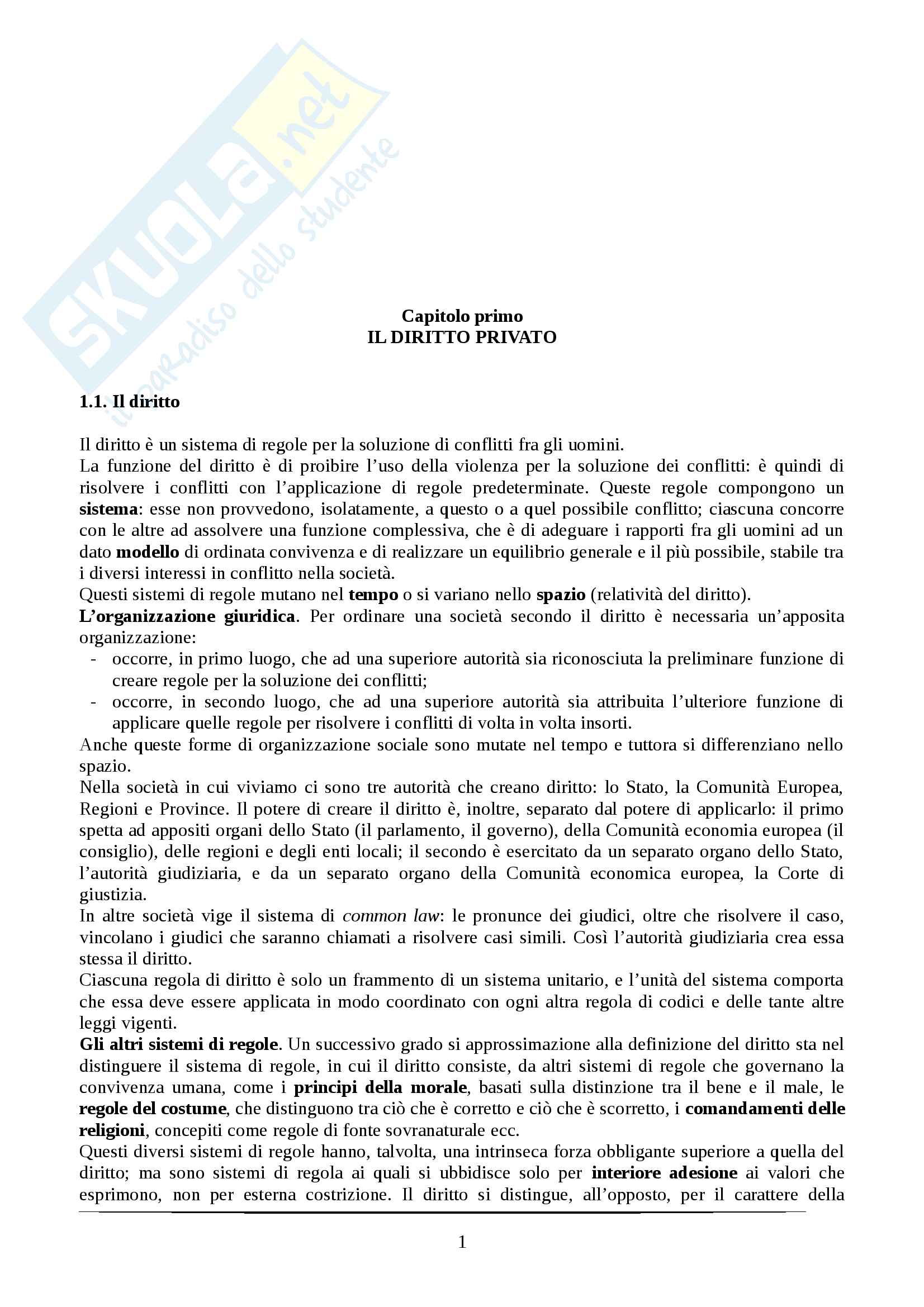 Riassunto esame Diritto privato, prof. Rolli, libro consigliato Diritto privato Galgano