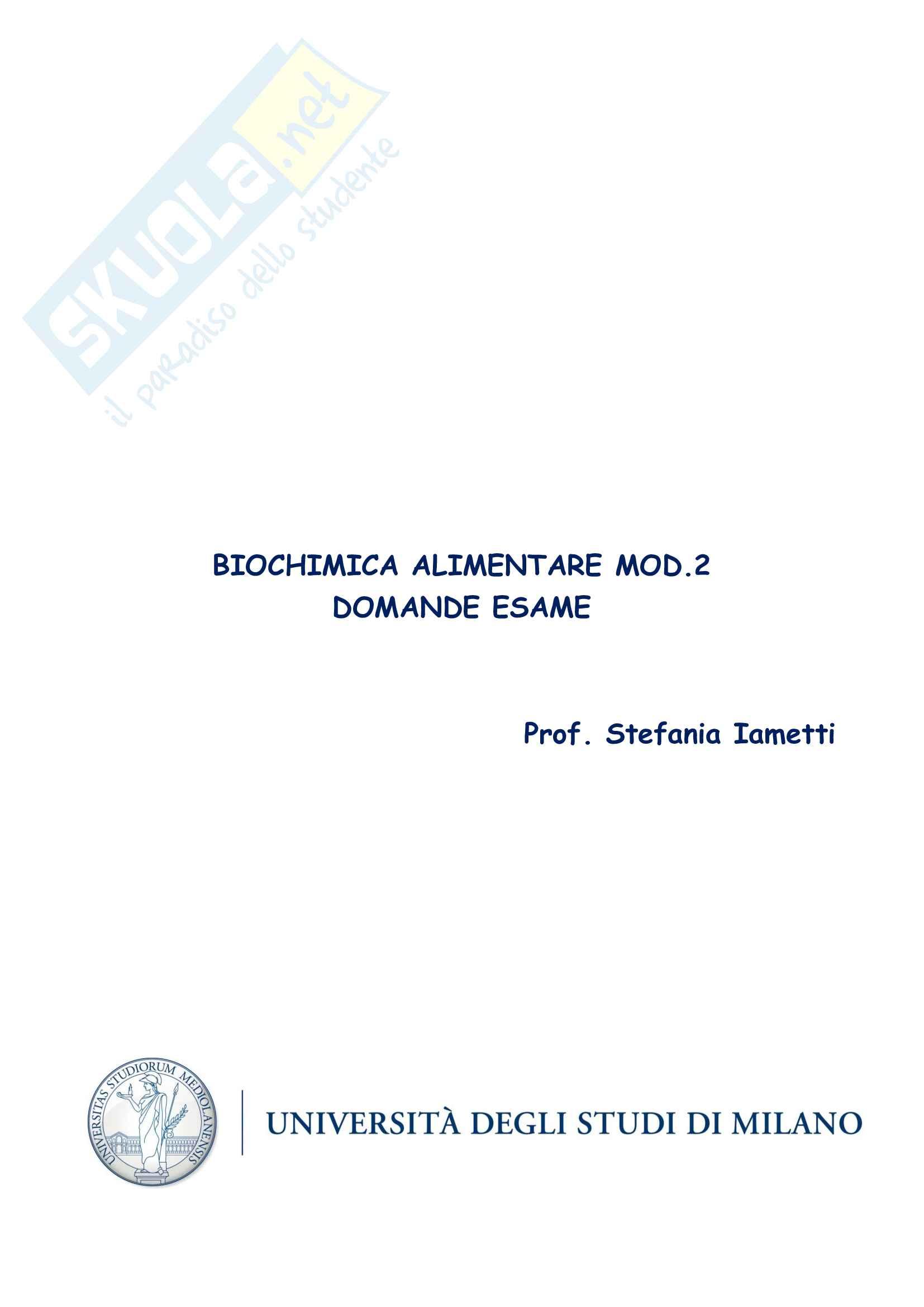 Domande Esame Biochimica Alimentare Mod.2