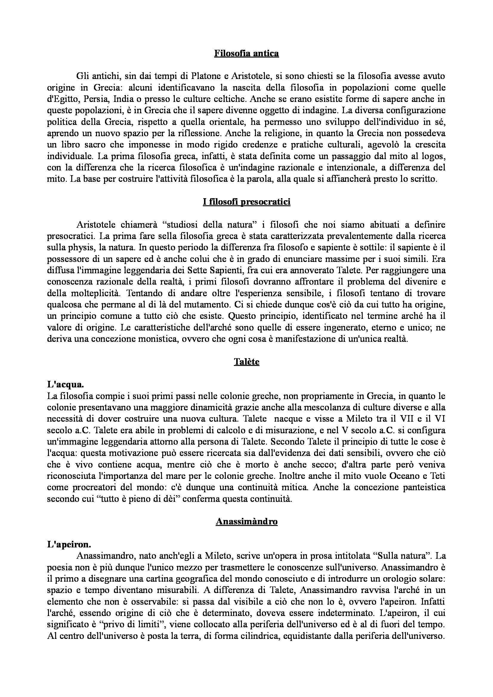 Riassunto esame Storia della filosofia antica, prof. Faraone, libro consigliato Storia della filosofia antica, Cambiano