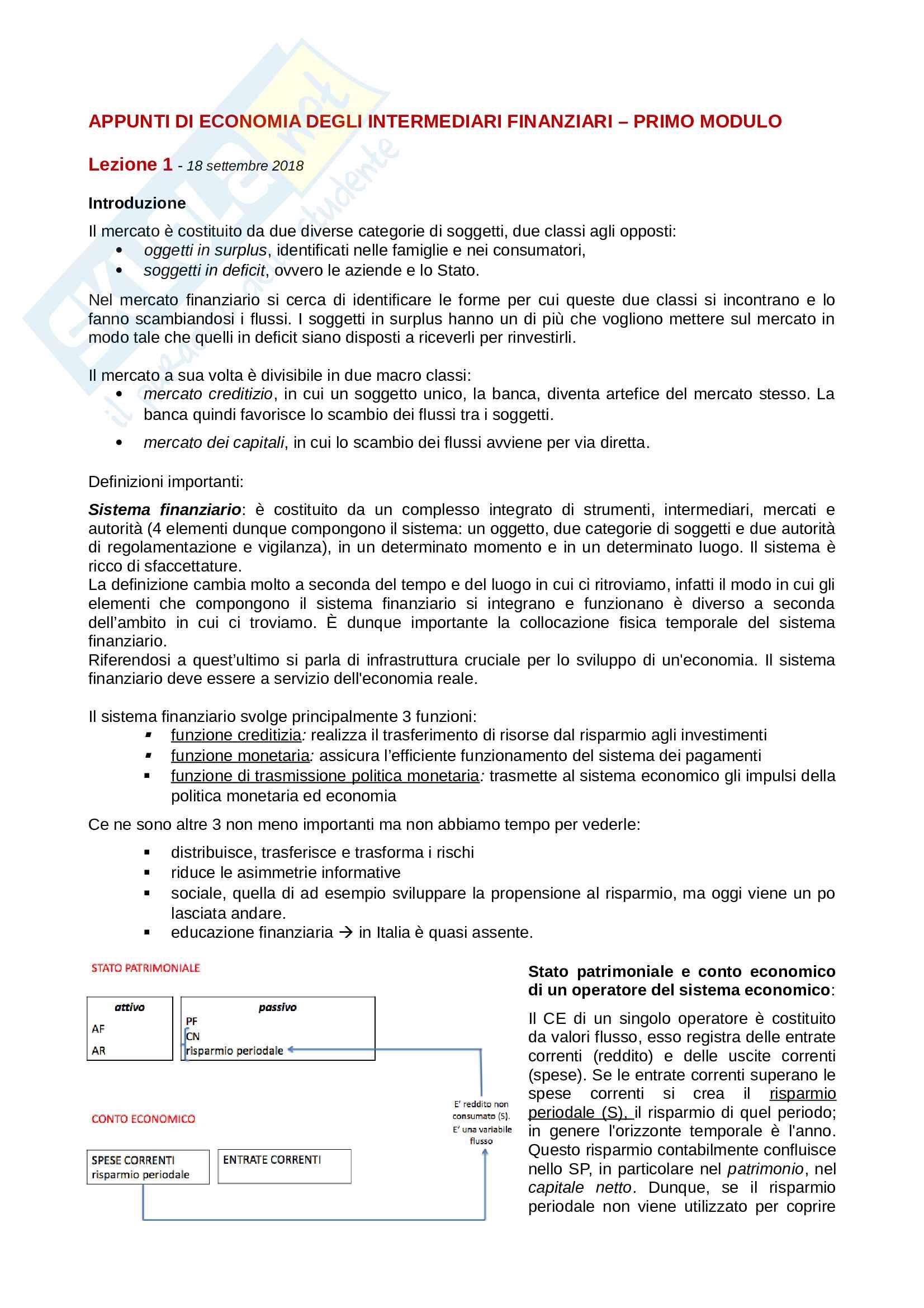 Appunti di Economia degli Intermediari Finanziari - I modulo - Prof Borroni Pag. 1