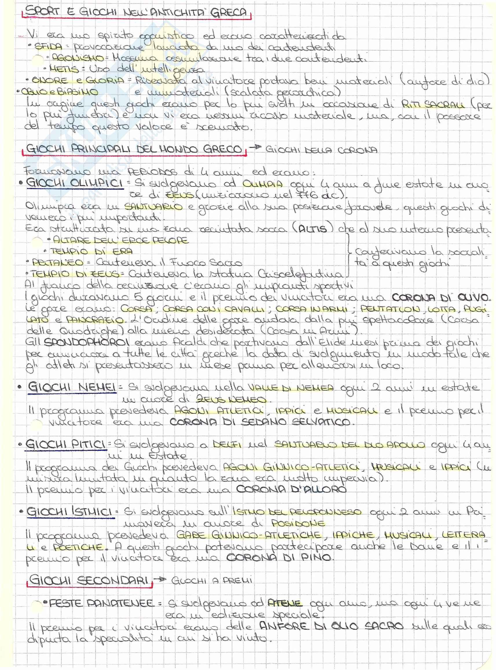 Riassunto esame Pedagogia, prof. Isidori, libro consigliato Dalla ginnastica antica allo sport contemporaneo, Barbieri