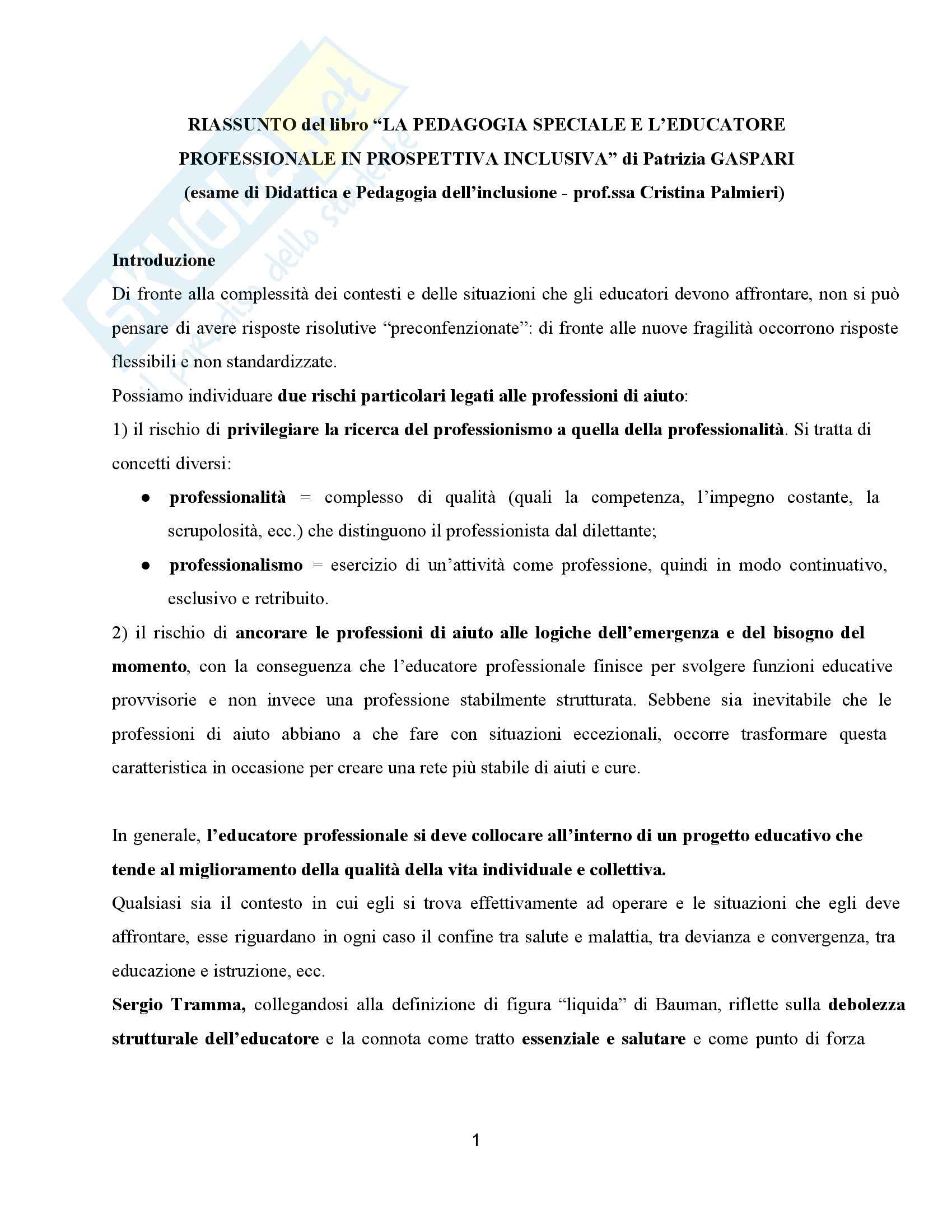 Riassunto esame Didattica dell'inclusione, prof. Palmieri, libro consigliato Pedagogia speciale e l'educatore professionale, Gaspari
