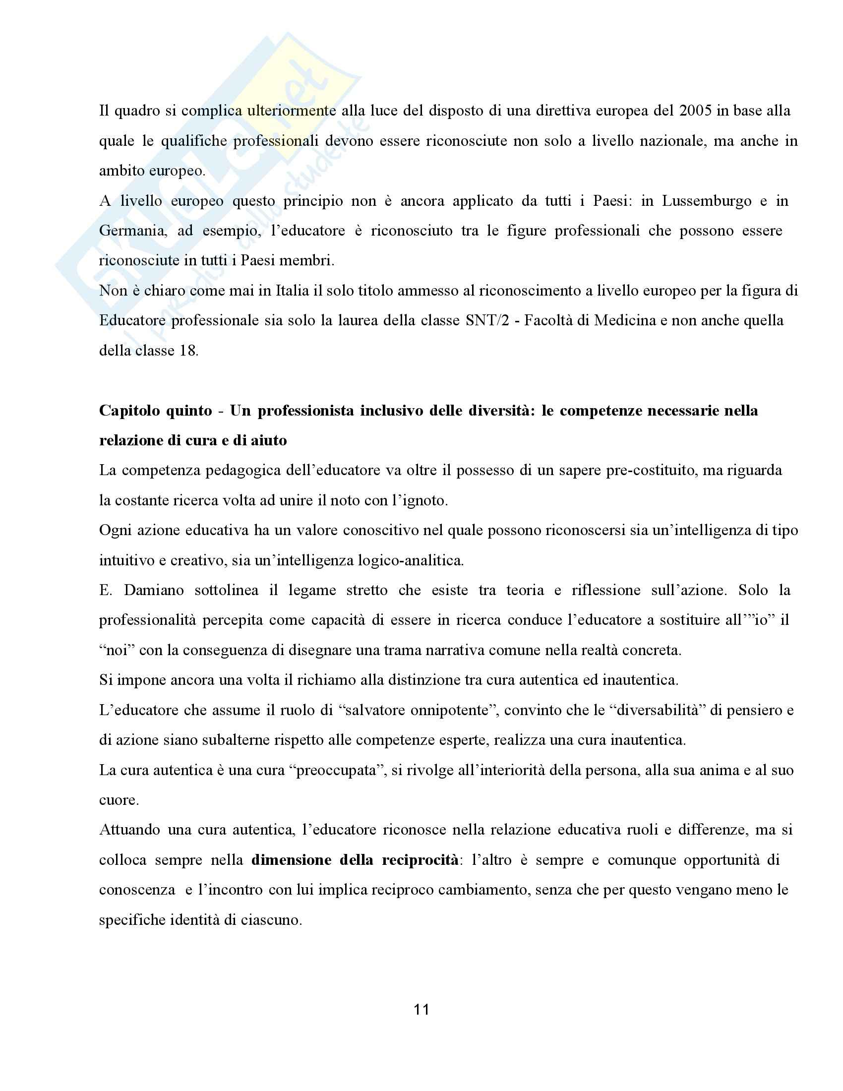 Riassunto esame Didattica dell'inclusione, prof. Palmieri, libro consigliato Pedagogia speciale e l'educatore professionale, Gaspari Pag. 11