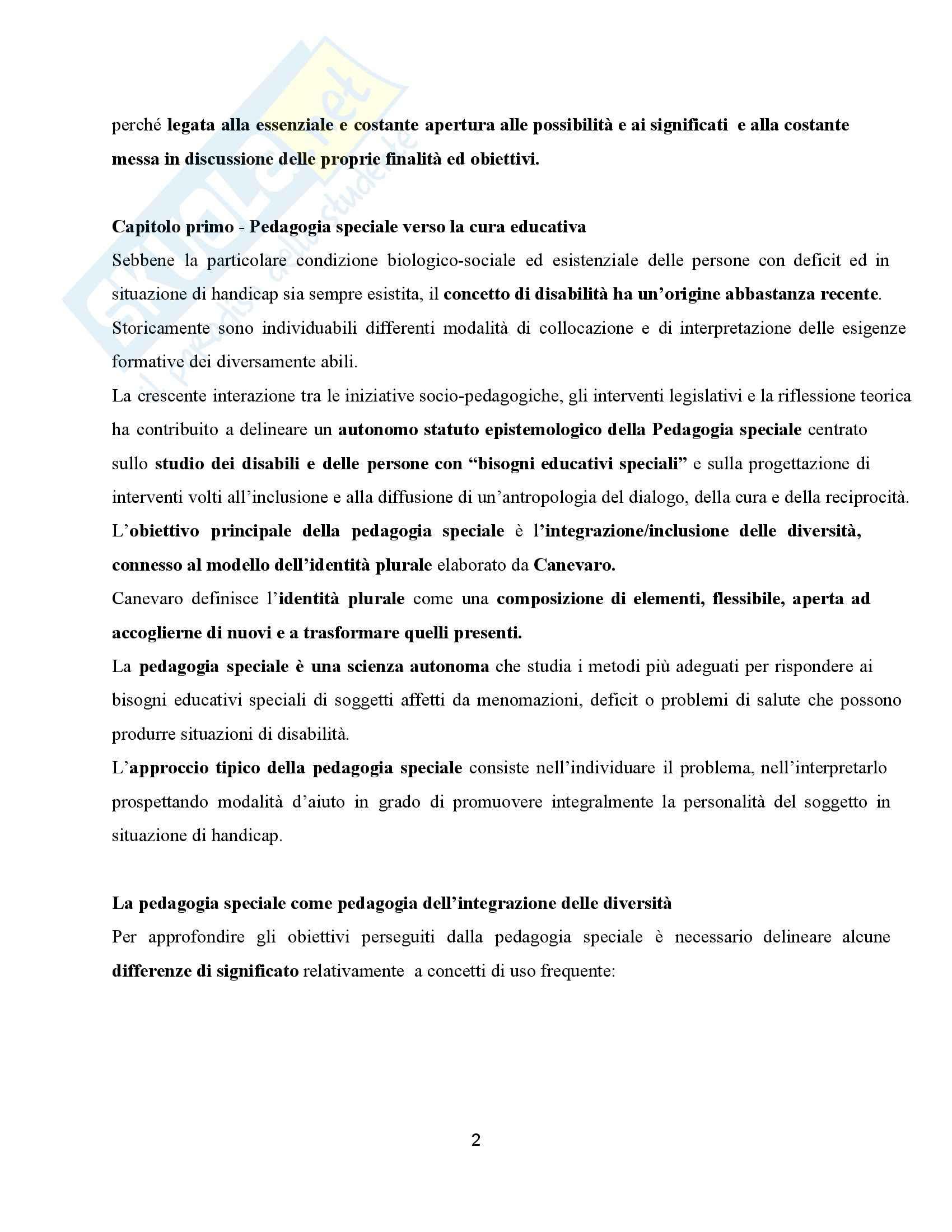 Riassunto esame Didattica dell'inclusione, prof. Palmieri, libro consigliato Pedagogia speciale e l'educatore professionale, Gaspari Pag. 2
