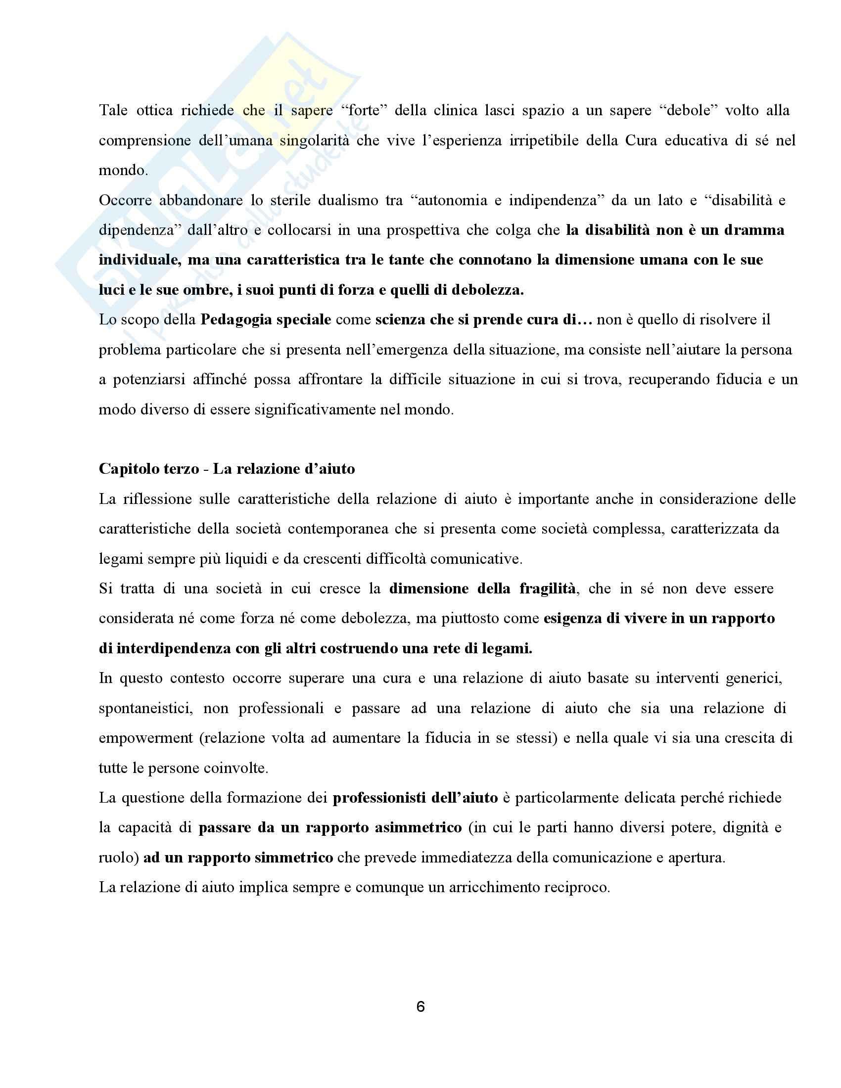 Riassunto esame Didattica dell'inclusione, prof. Palmieri, libro consigliato Pedagogia speciale e l'educatore professionale, Gaspari Pag. 6