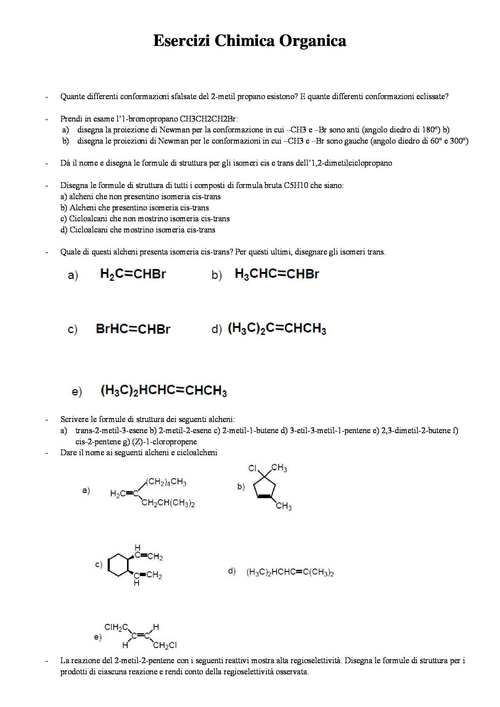 Chimica organica - Esercizi