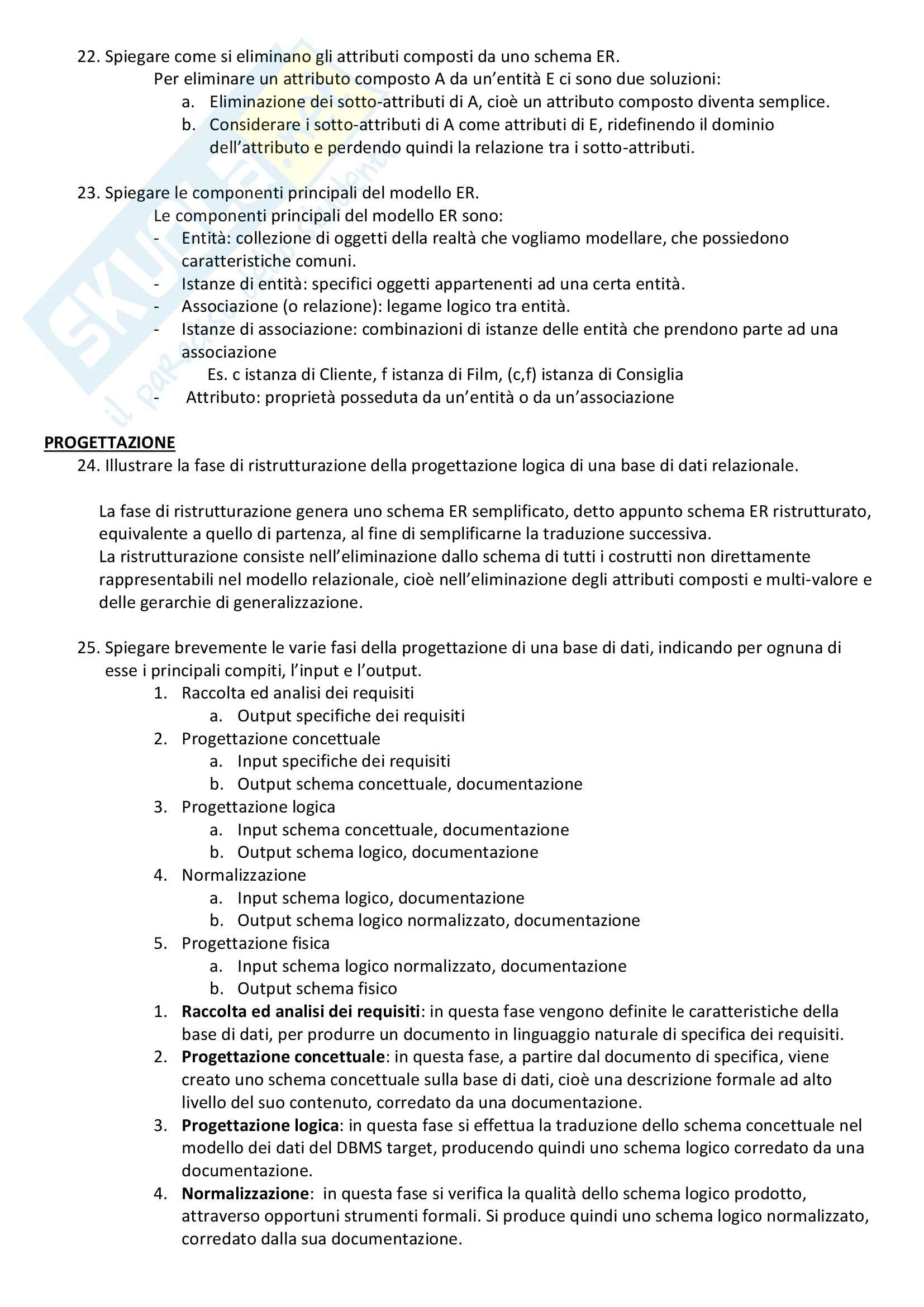 Basi di Dati - Domande e Risposte Pag. 6