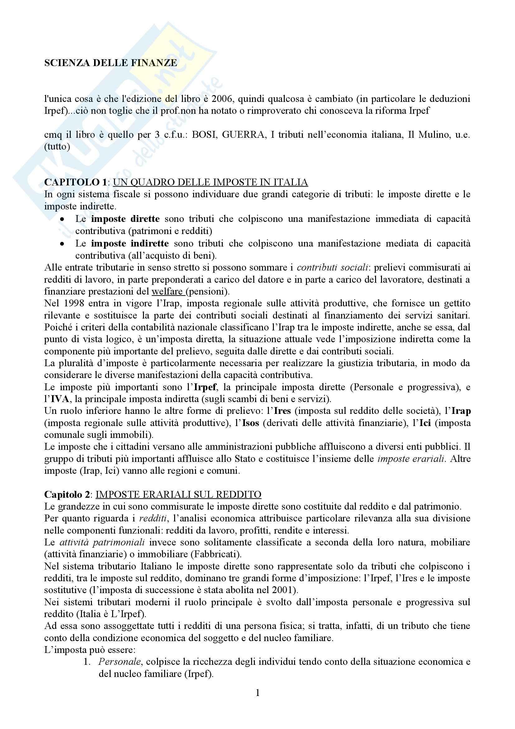 Tributi nell'economia italiana, Bosi, Guerra - Appunti