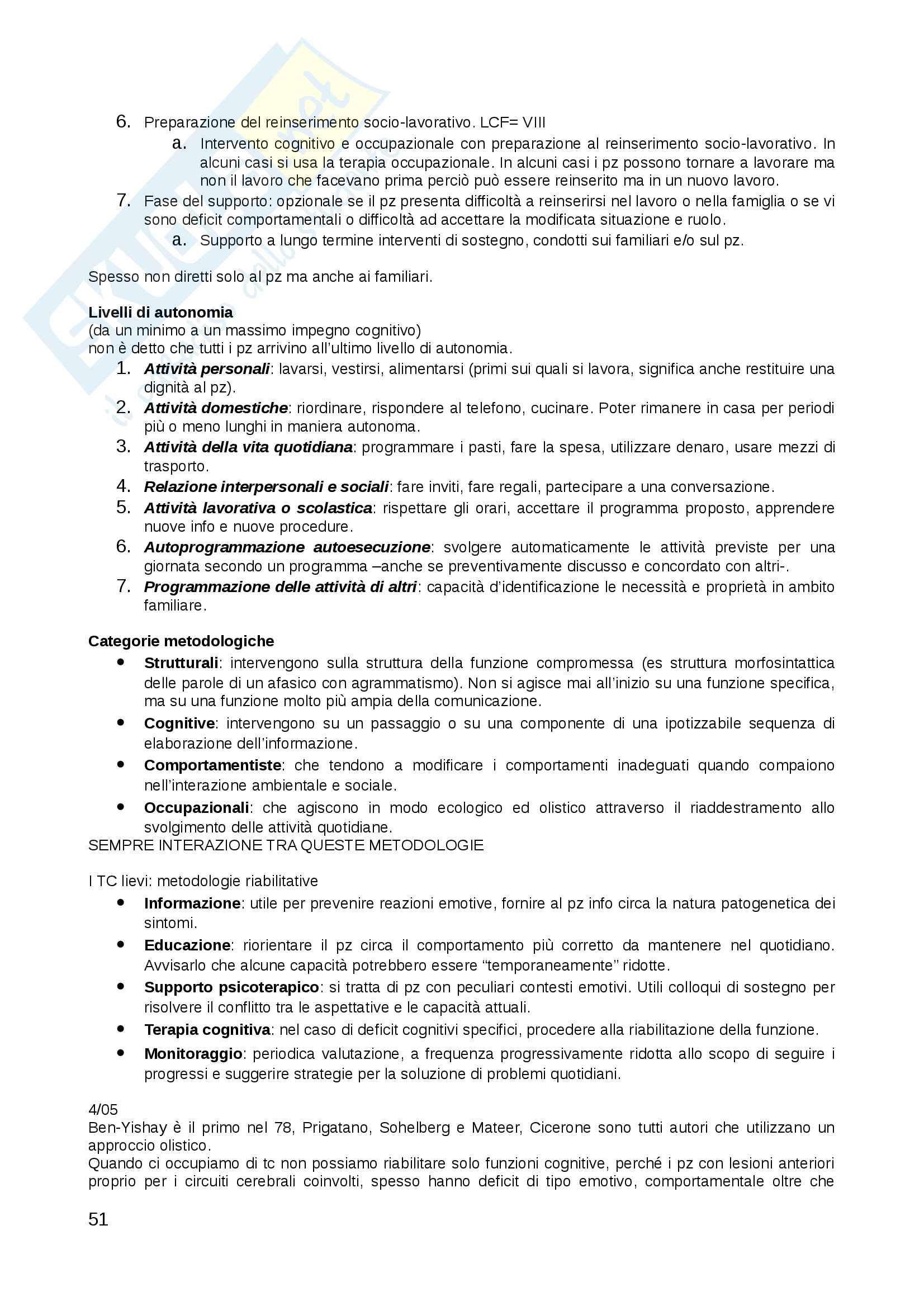 Appunti personali presi in aula Riabilitazione neuropsicologica, docente Mapelli Pag. 51