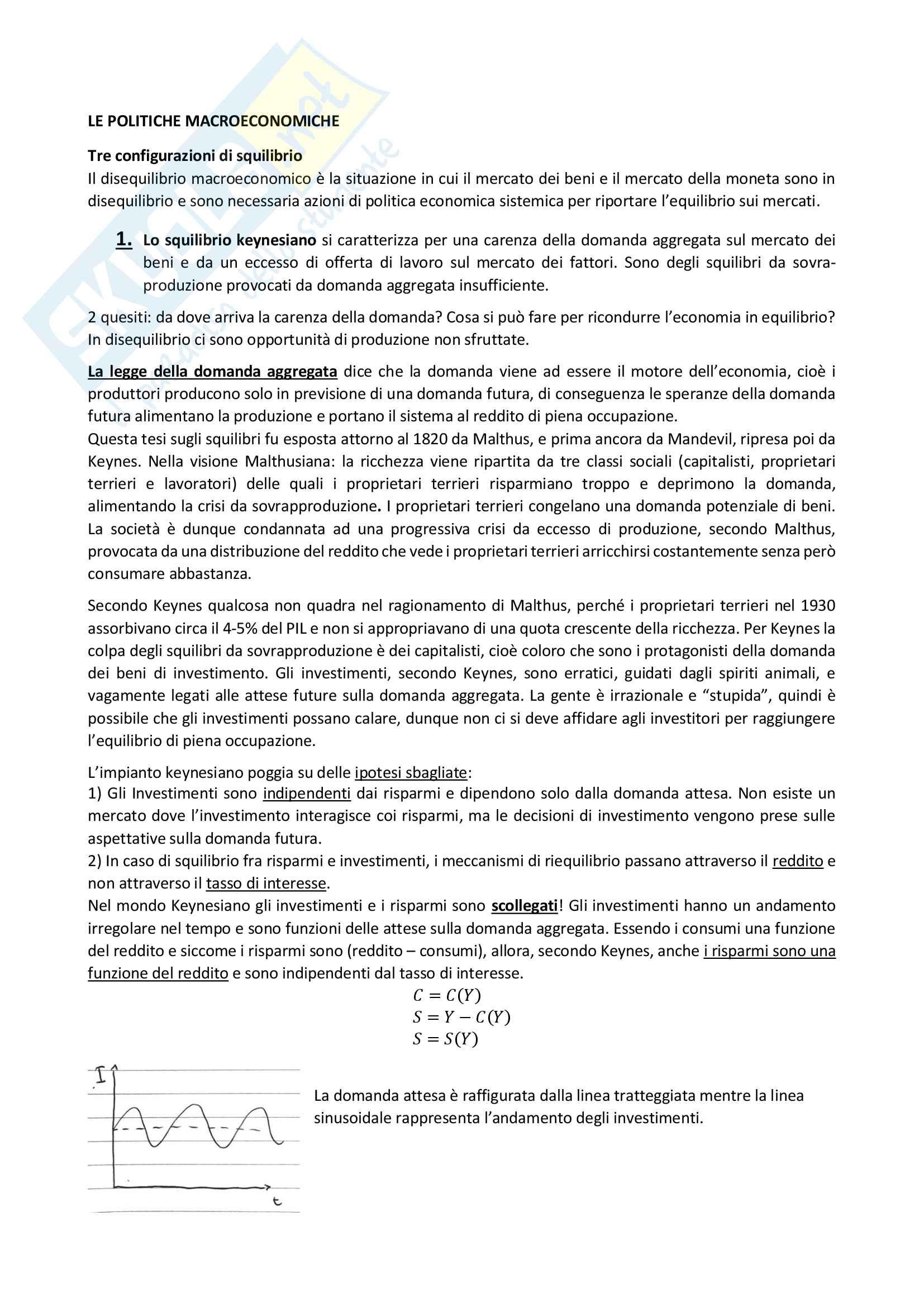 Riassunto esame Politica Economica (quarta parte: le politiche macroeconomiche), prof. Colombatto