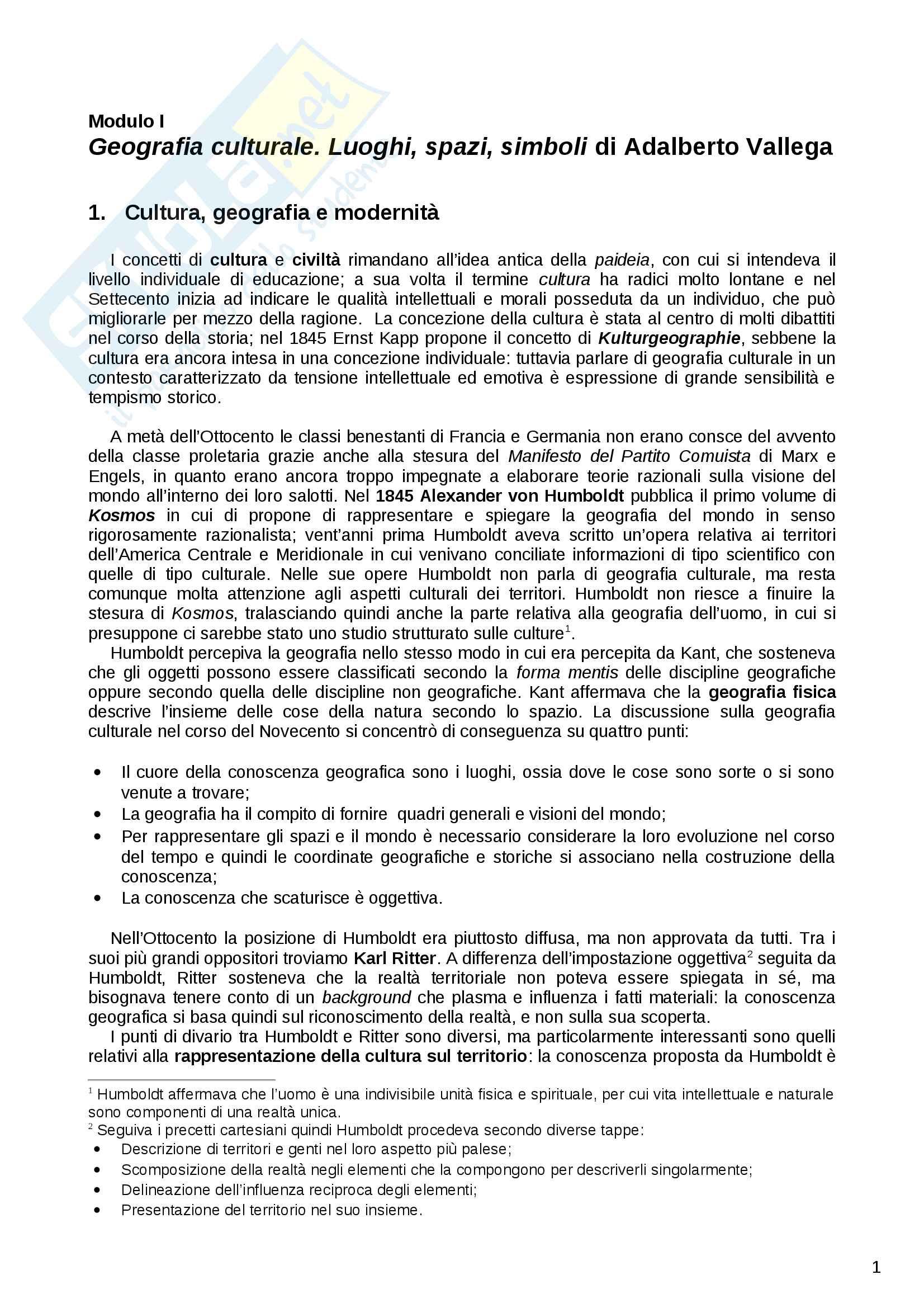 Riassunto esame Geografia culturale, prof. Dino Gavinelli, libro consigliato Geografia Culturale