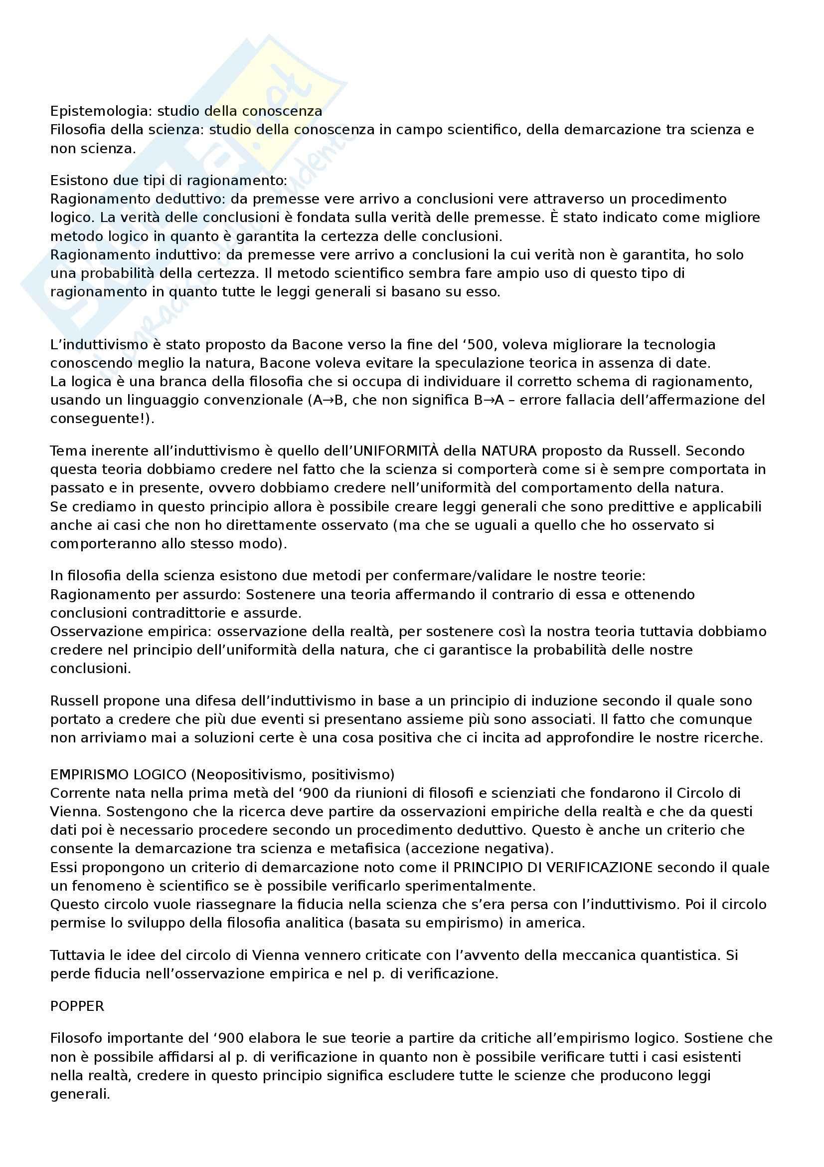 Riassunto esame Filosofia della Scienza, prof. Sala, libro consigliato La Filosofia della Scienza nel XX Secolo, Gillies, Giorello