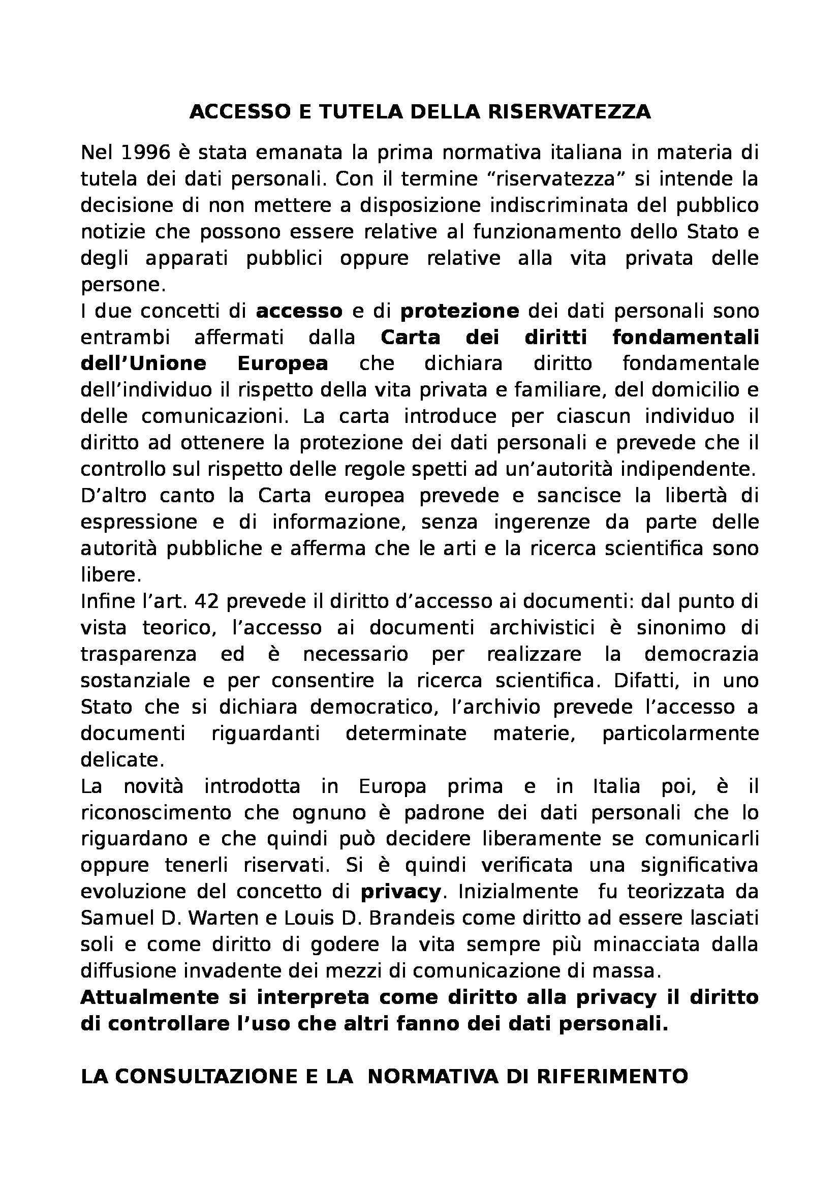 Archivistica - dispense riassunte, prof. Giambastiani