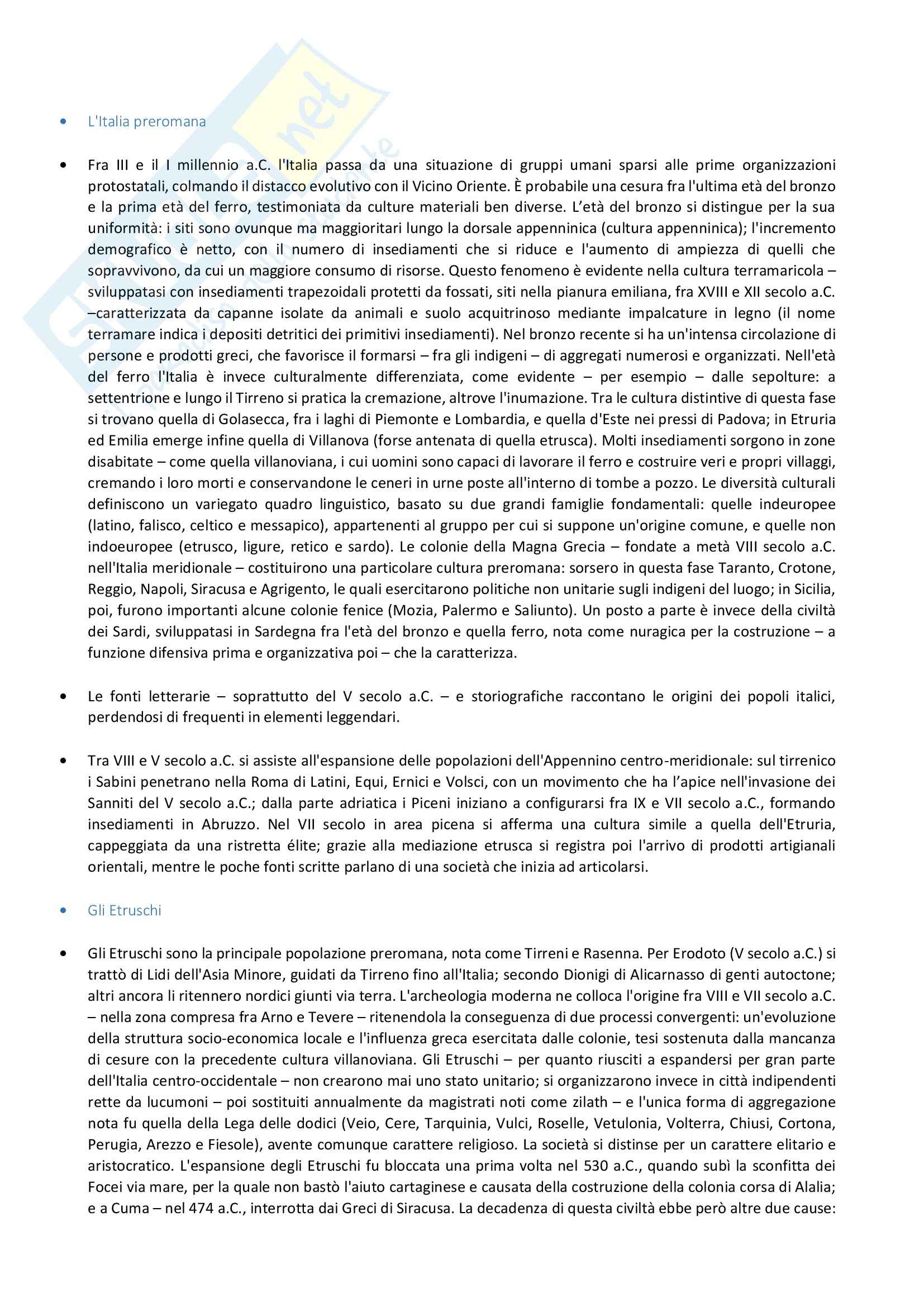 Riassunto esame Storia Romana, prof. Corda, libro consigliato Storia romana, Geraci, Marcone