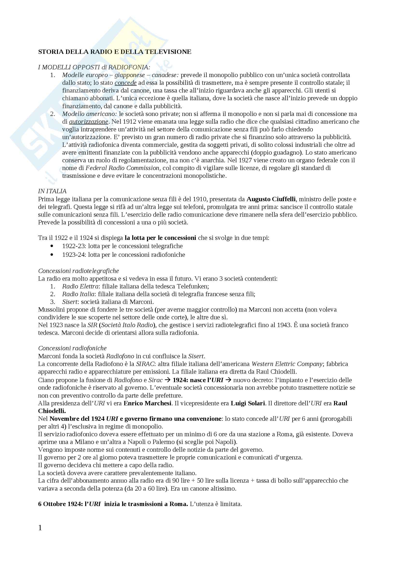 Riassunto esame Storia della radio, Prof. Piazzoni, libro consigliato Storia della radio e della televisione in Italia, Monteleone