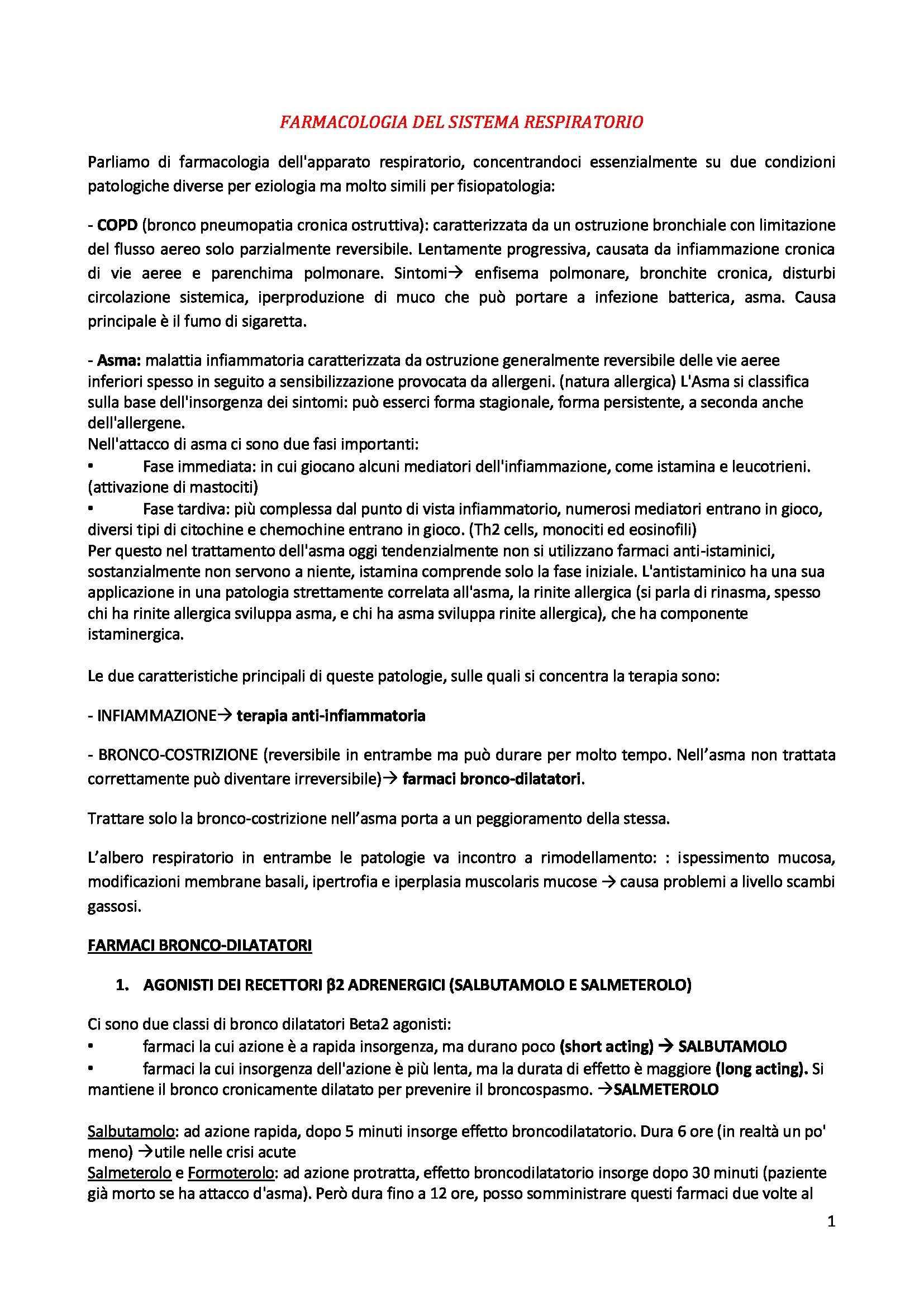 Farmacologia speciale - farmacologia del sistema respiratorio