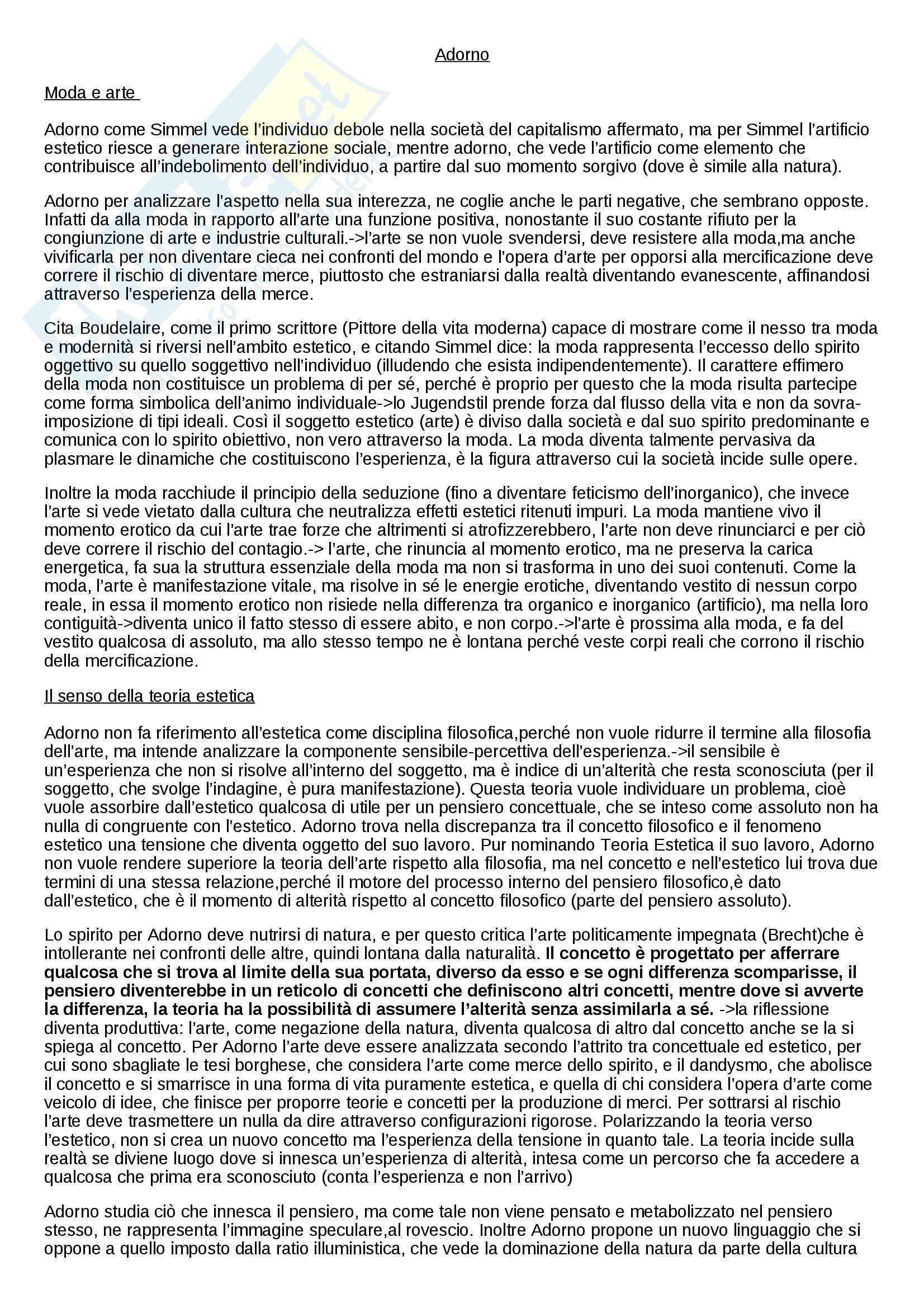 Riassunto su Adorno per esame estetica, prof. Matteucci, libro consigliato L'artificio estetico, Matteucci