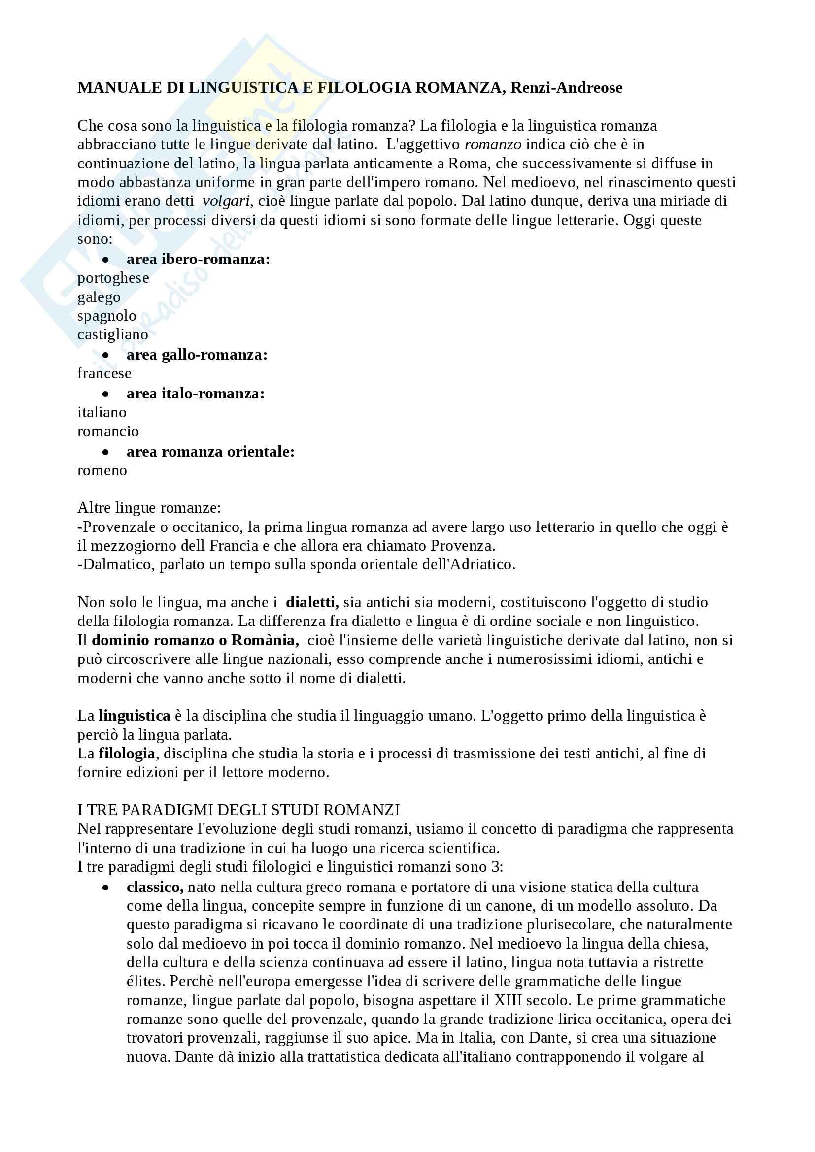 Riassunto esame Filologia Romanza, Cigni, libro consigliato Manuale di linguistica e filologia romanza, Renzi, Andreose
