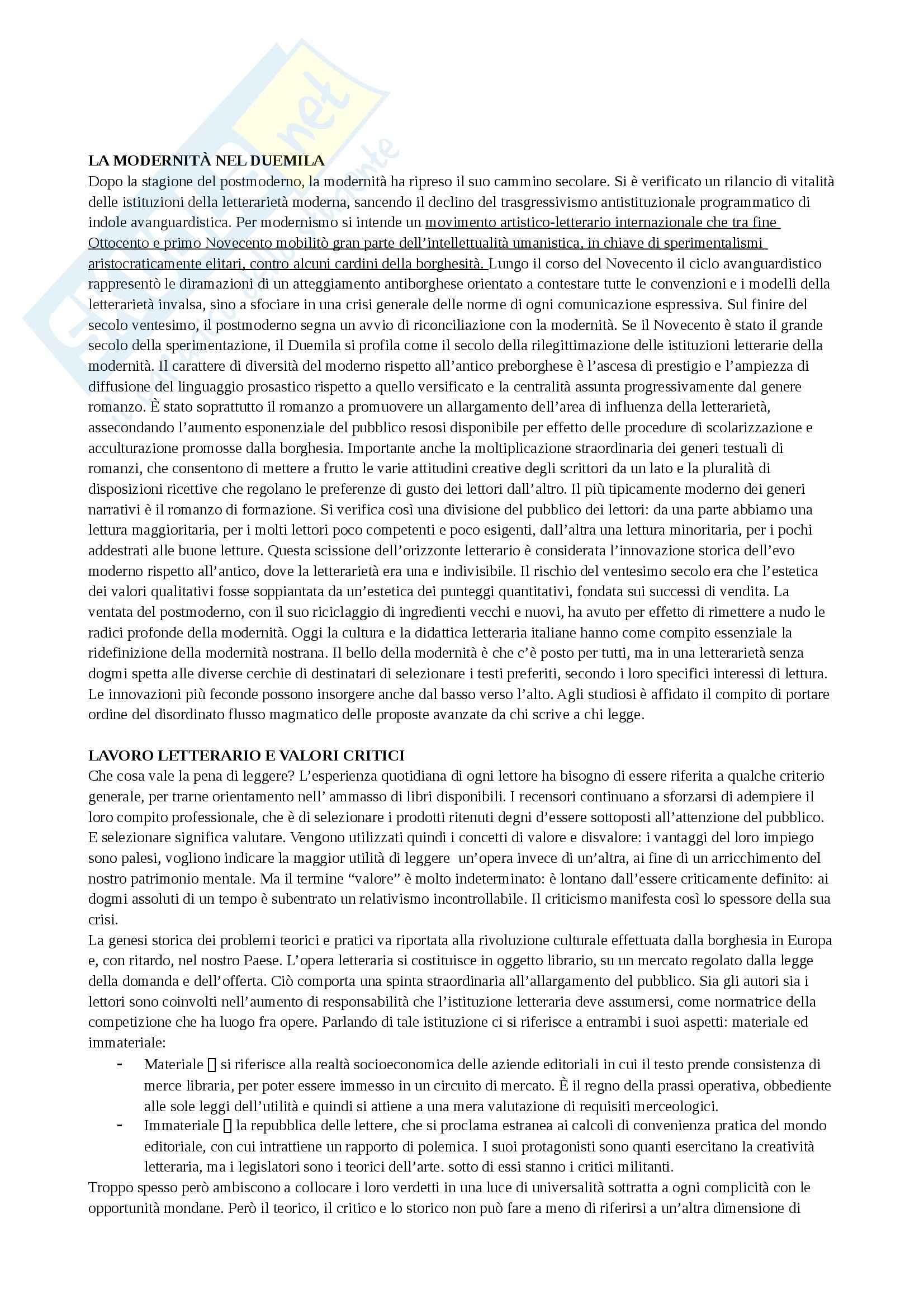 Riassunto esame Letteratura e sistema editoriale, prof. Cadioli, libro consigliato L'esperienza della lettura, Spinazzola